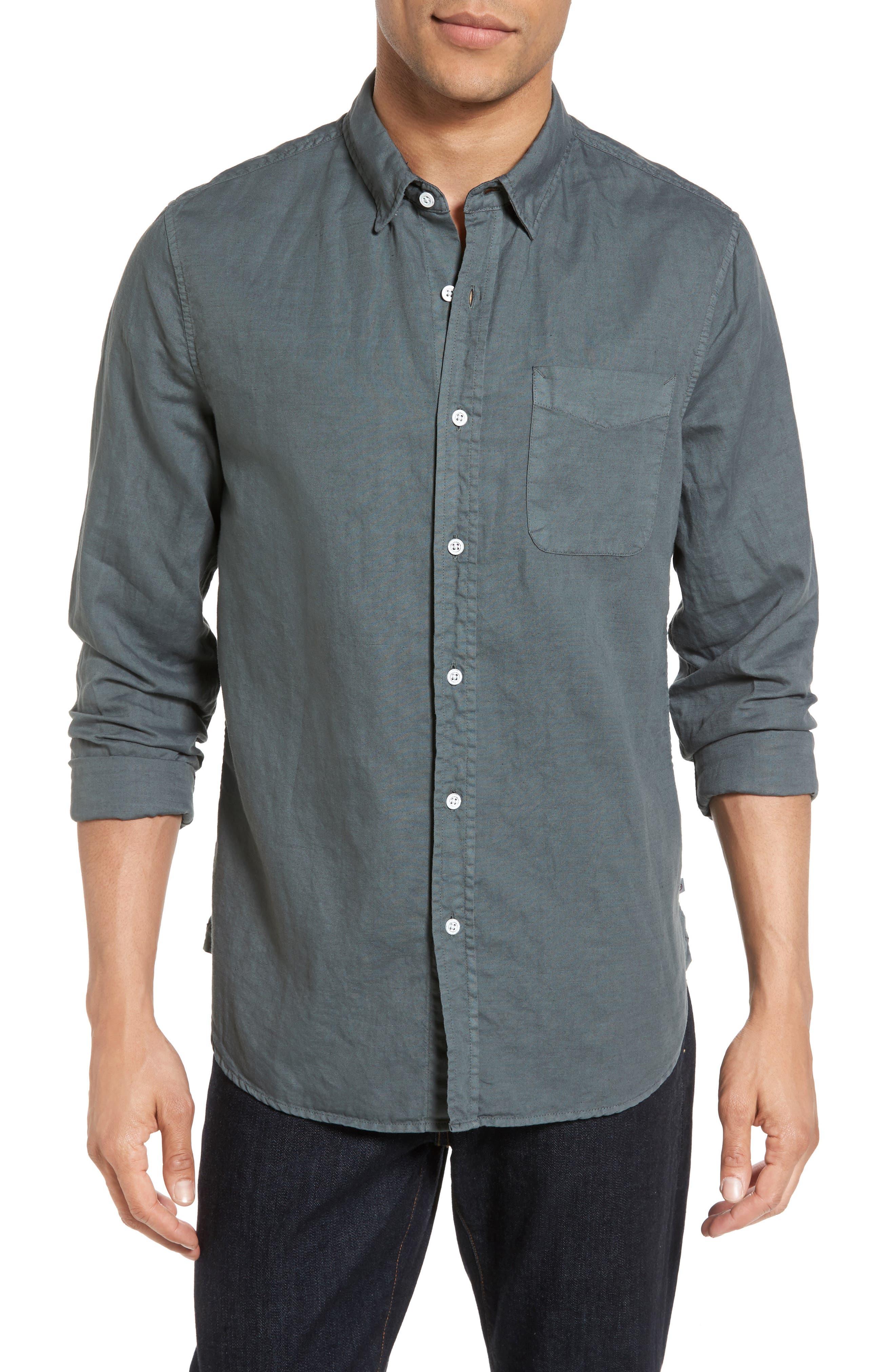 Colton Slim Fit Cotton & Linen Sport Shirt,                         Main,                         color, Pigment Castlerock