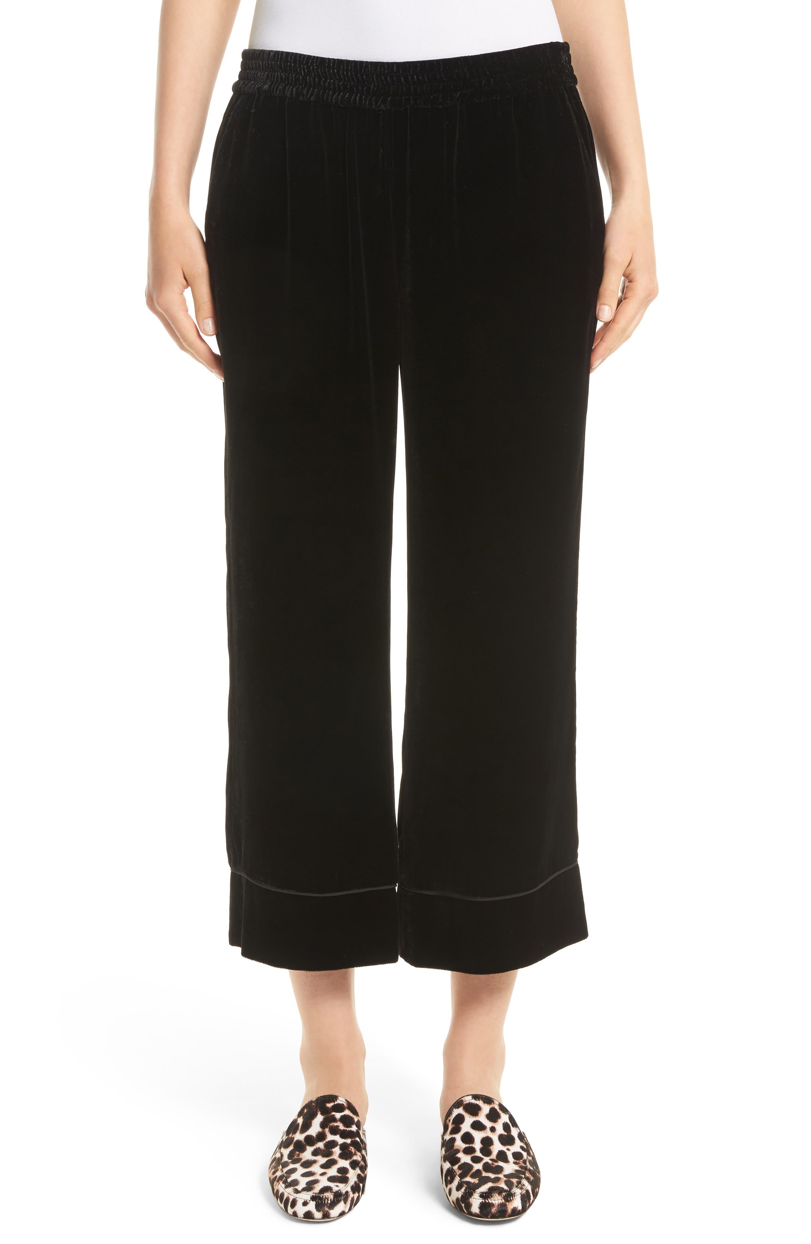 Kaitrine Wide Leg Velvet Crop Pants,                         Main,                         color, Caviar