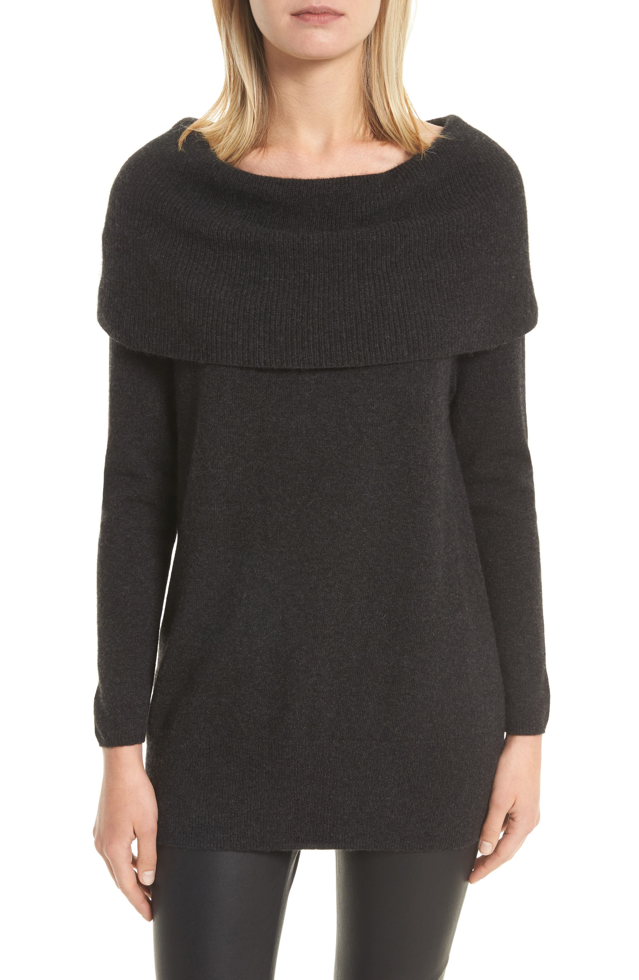 Sibel Wool & Cashmere Sweater,                         Main,                         color, Heather Charcoal