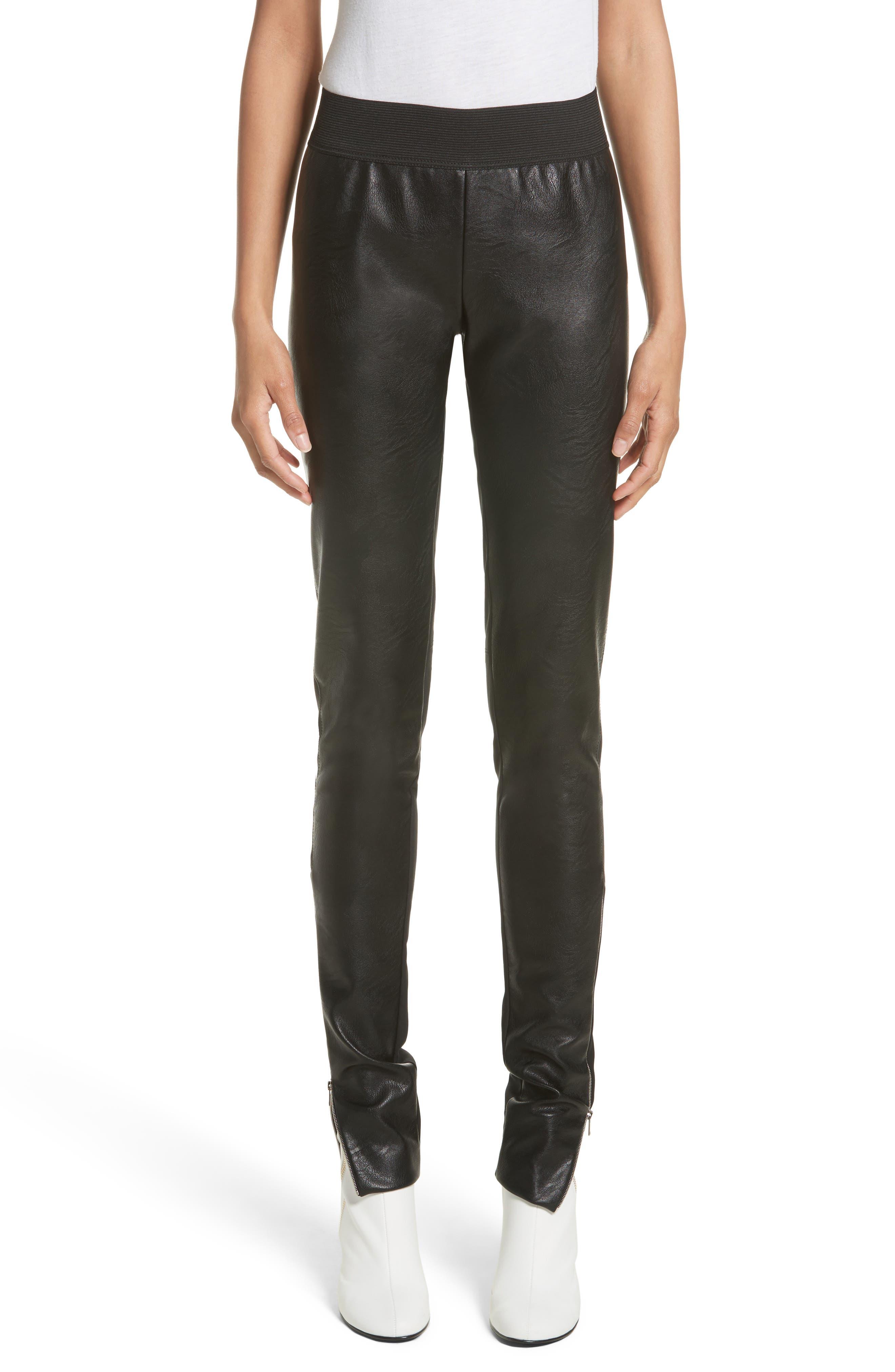 Faux Leather Stretch Leggings,                             Main thumbnail 1, color,                             Black