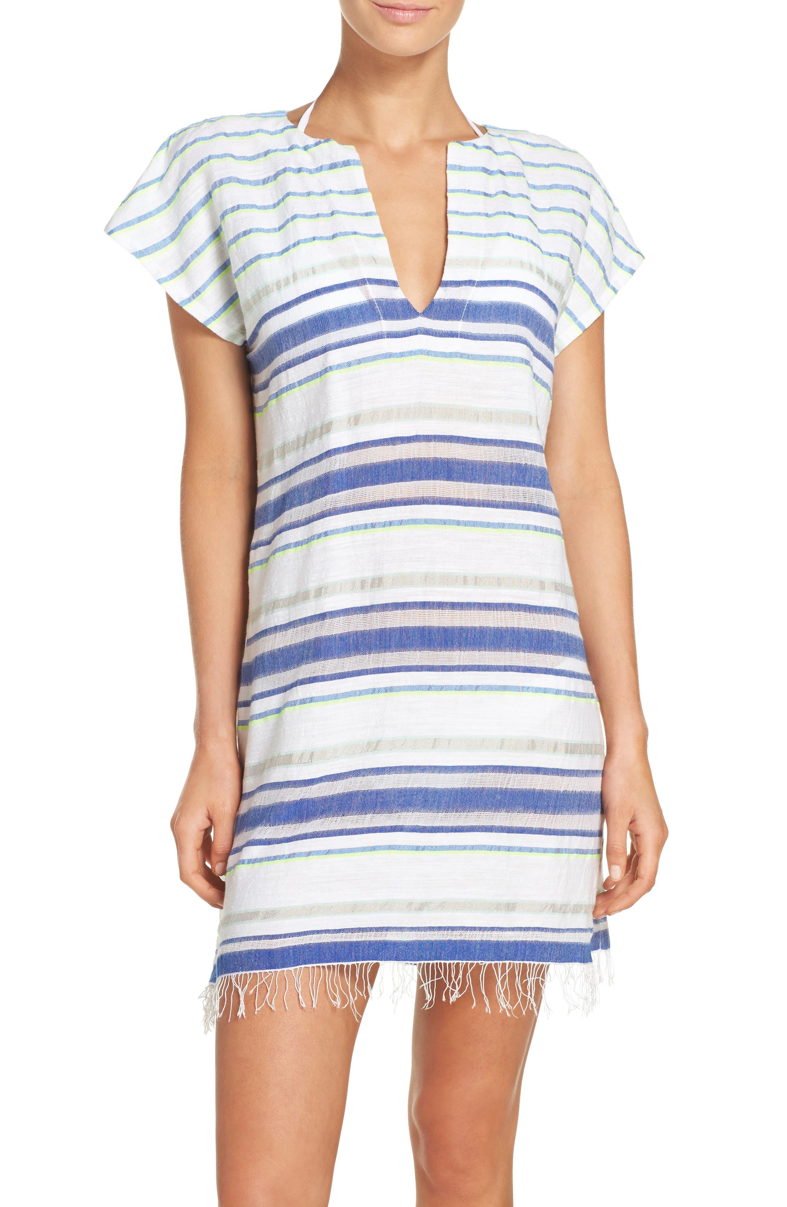 Stripe Cover-Up Tunic,                         Main,                         color, Aqua