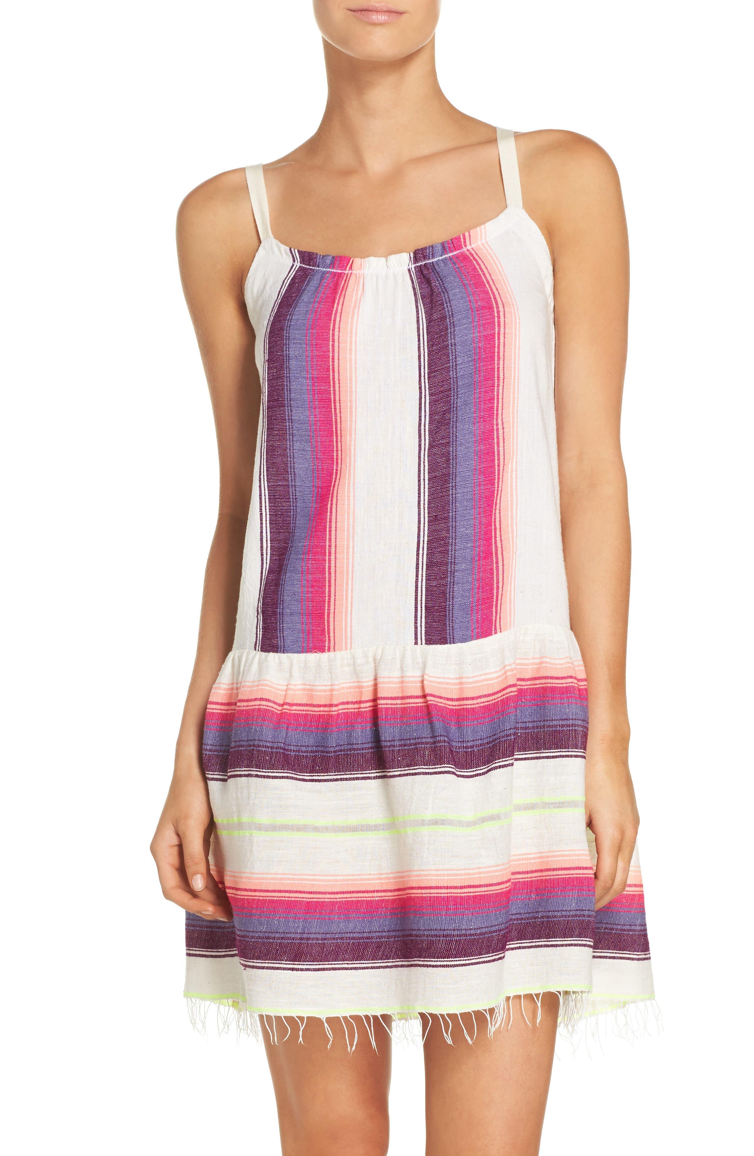 Stripe Cover-Up Dress,                         Main,                         color, Raspberry