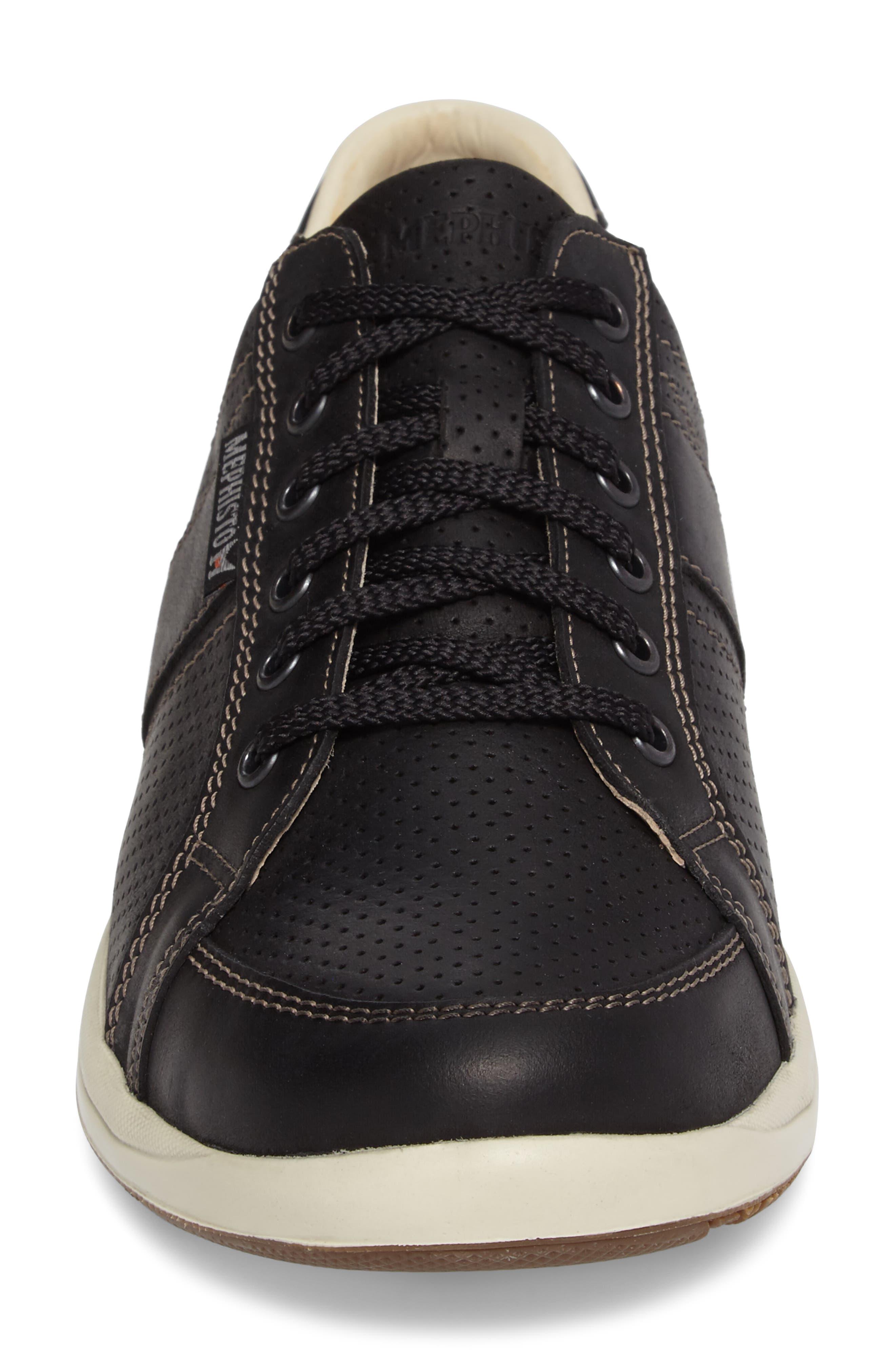 'Hero' Perforated Sneaker,                             Alternate thumbnail 4, color,                             Black Nubuck Leather