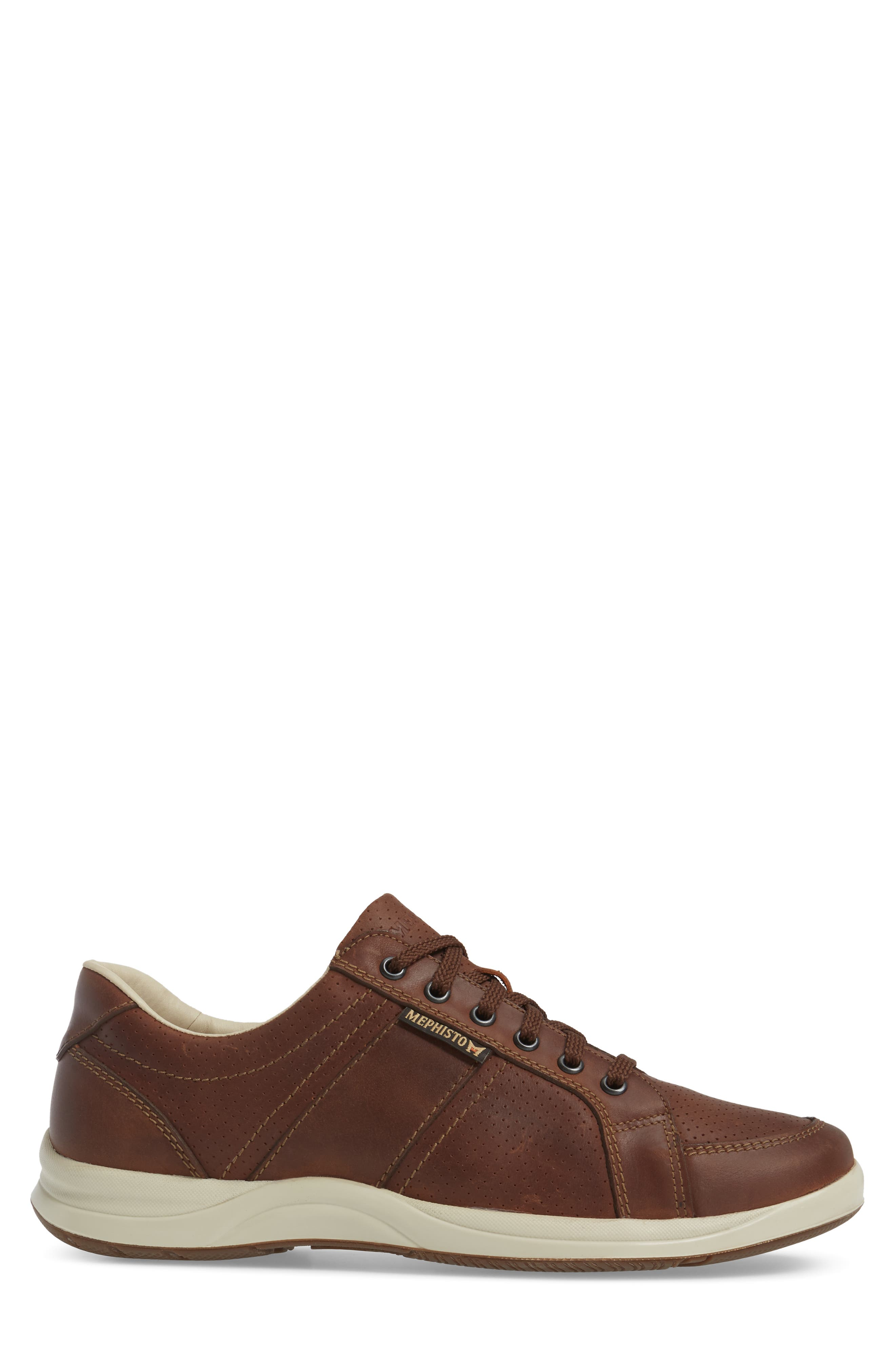 'Hero' Perforated Sneaker,                             Alternate thumbnail 3, color,                             Chestnut Nubuck Leather