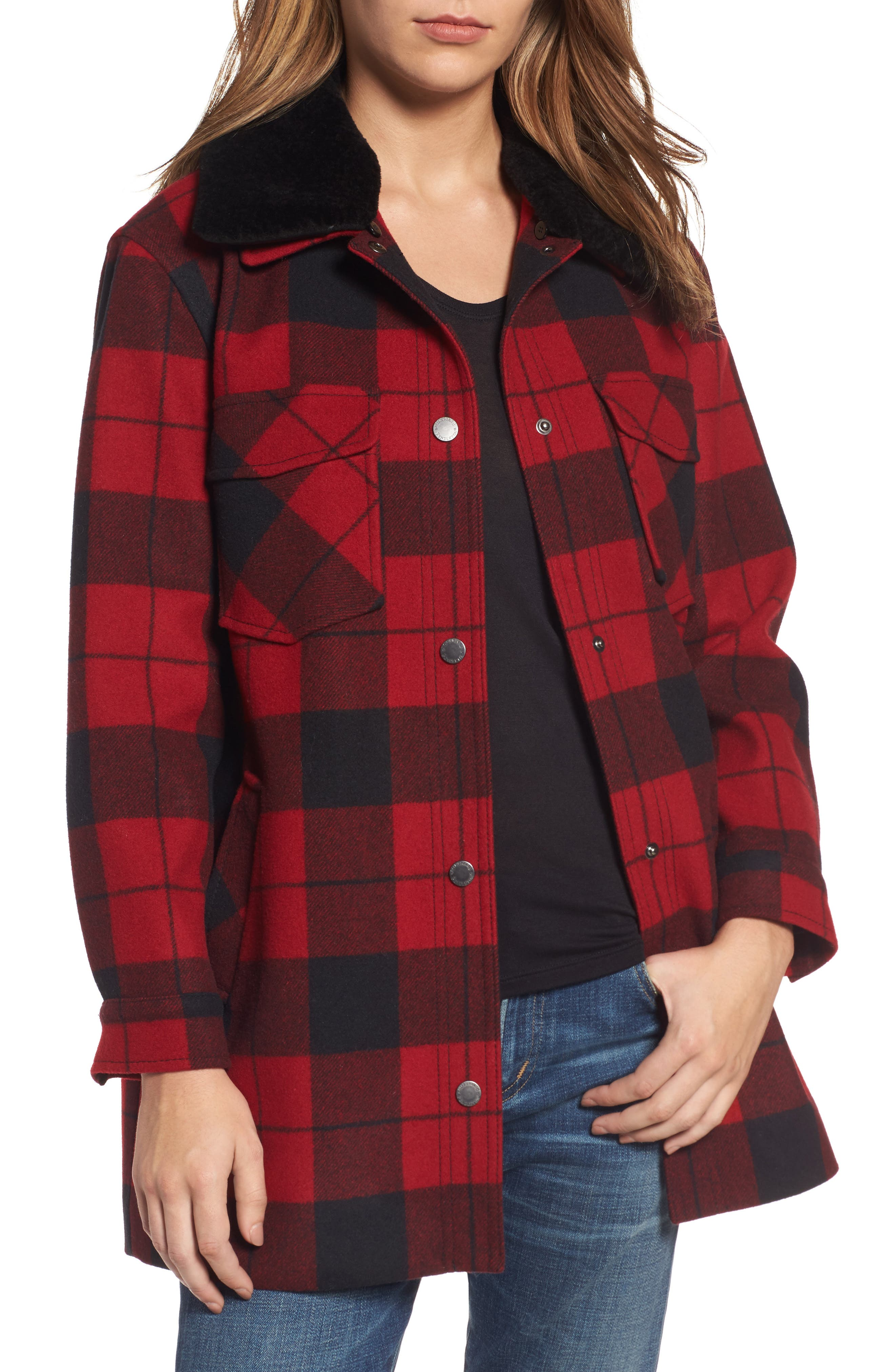 Pendleton Cheyenne Plaid Wool Blend Coat with Faux Shearling Collar