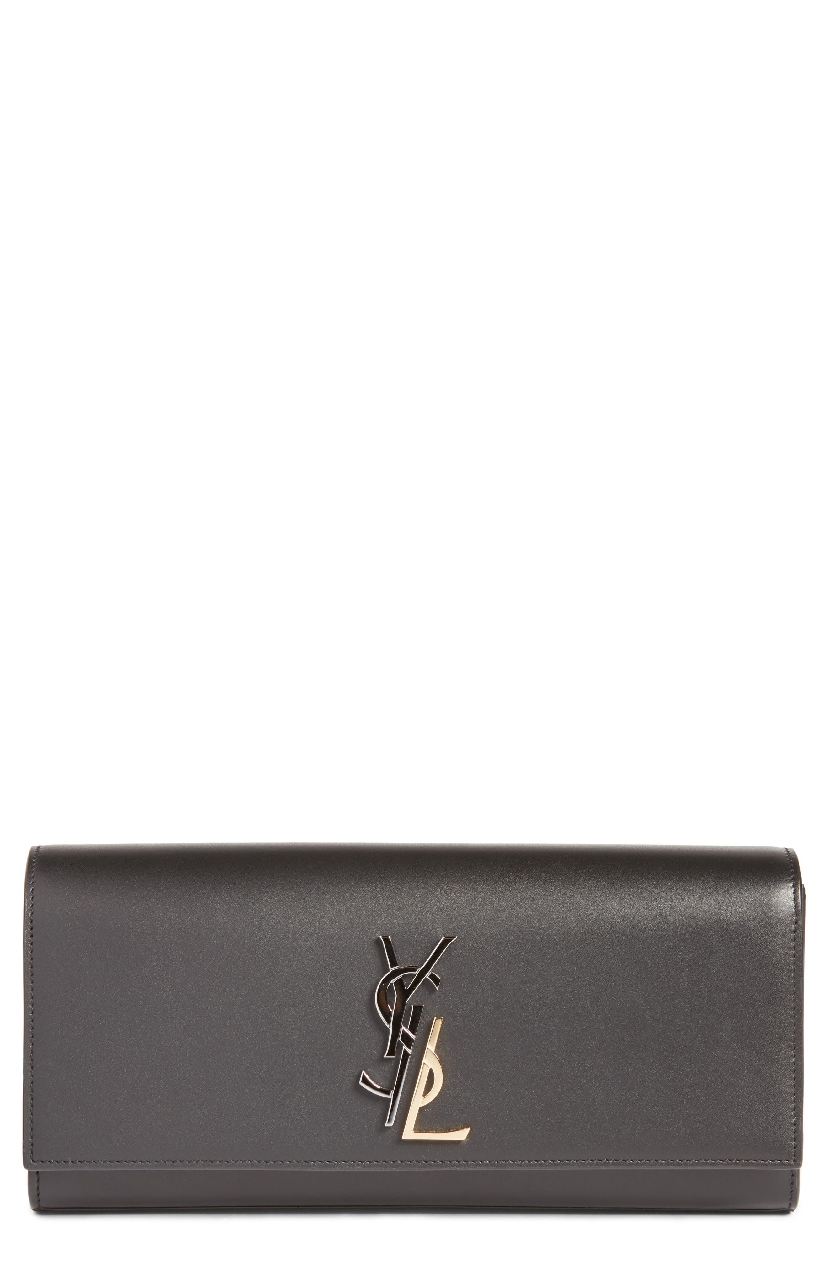 Saint Laurent Kate Deconstructed Monogram Leather Clutch