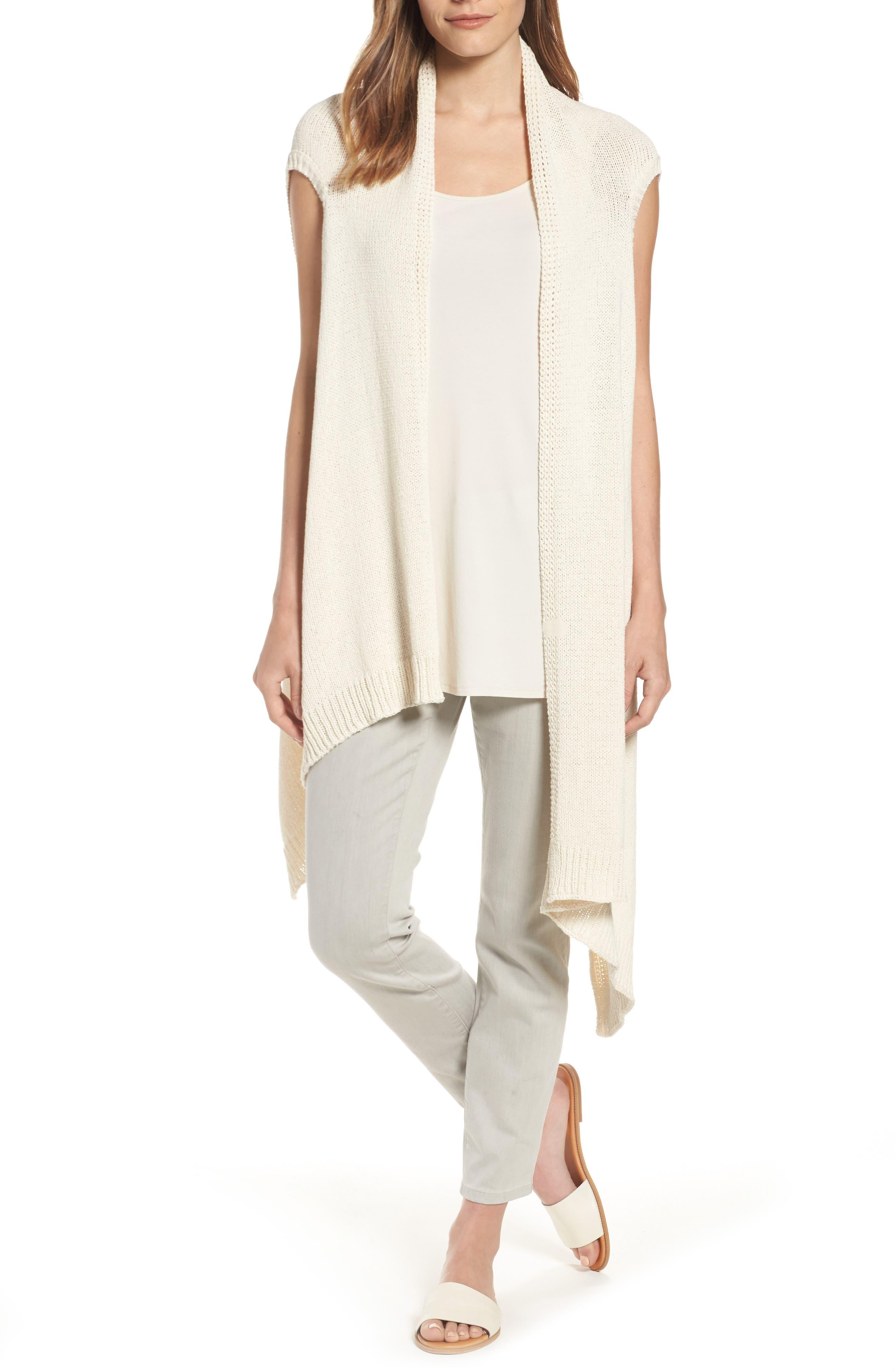 Eileen Fisher Cotton Blend Knit Asymmetrical Wrap (Regular & Petite)