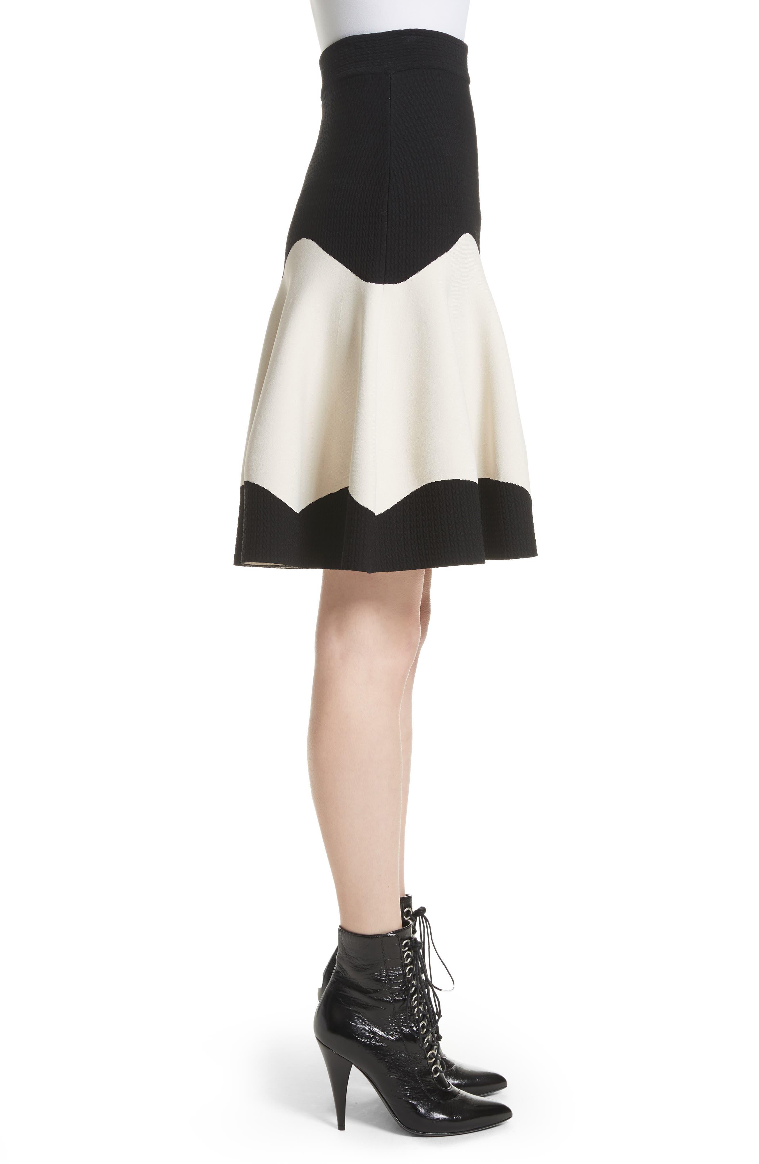 Bicolor Contrast Jacquard Flounce Skirt,                             Alternate thumbnail 5, color,                             Black/ Ivory