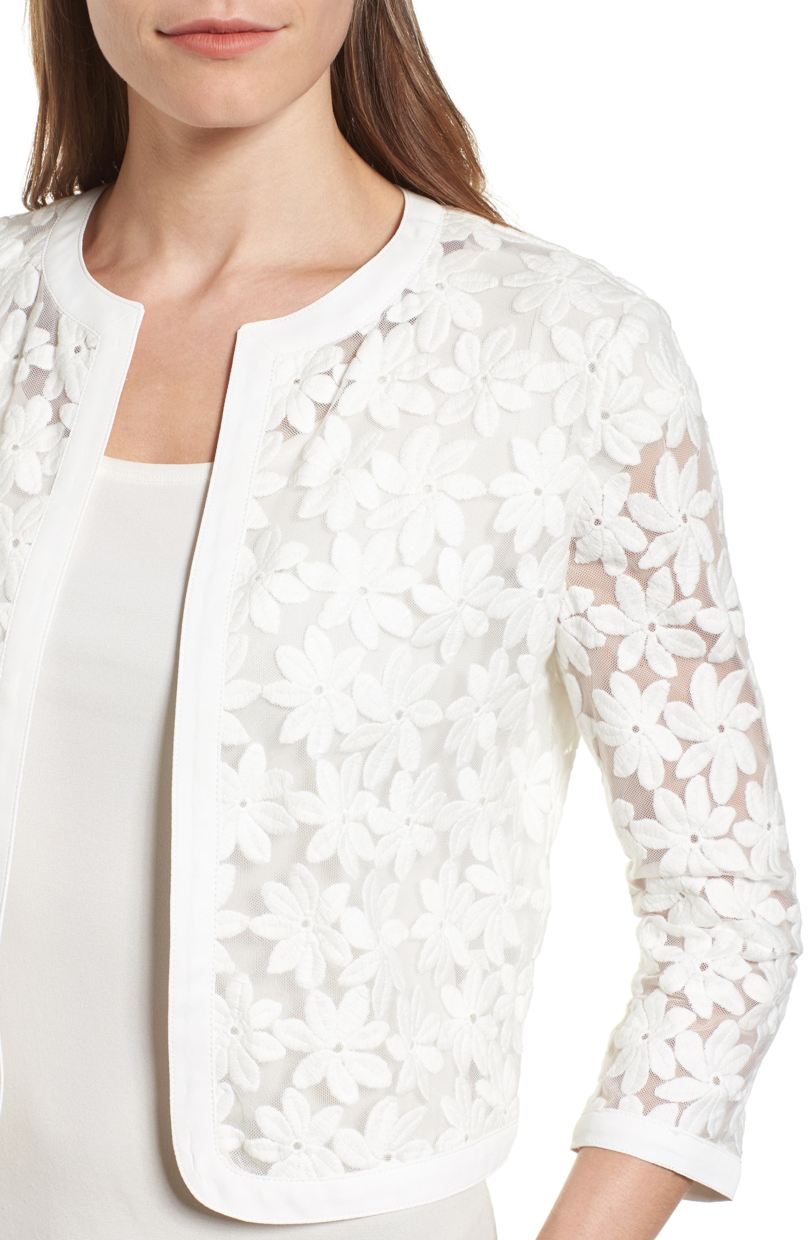 Alternate Image 4  - Anne Klein Floral Embroidered Mesh Cardigan