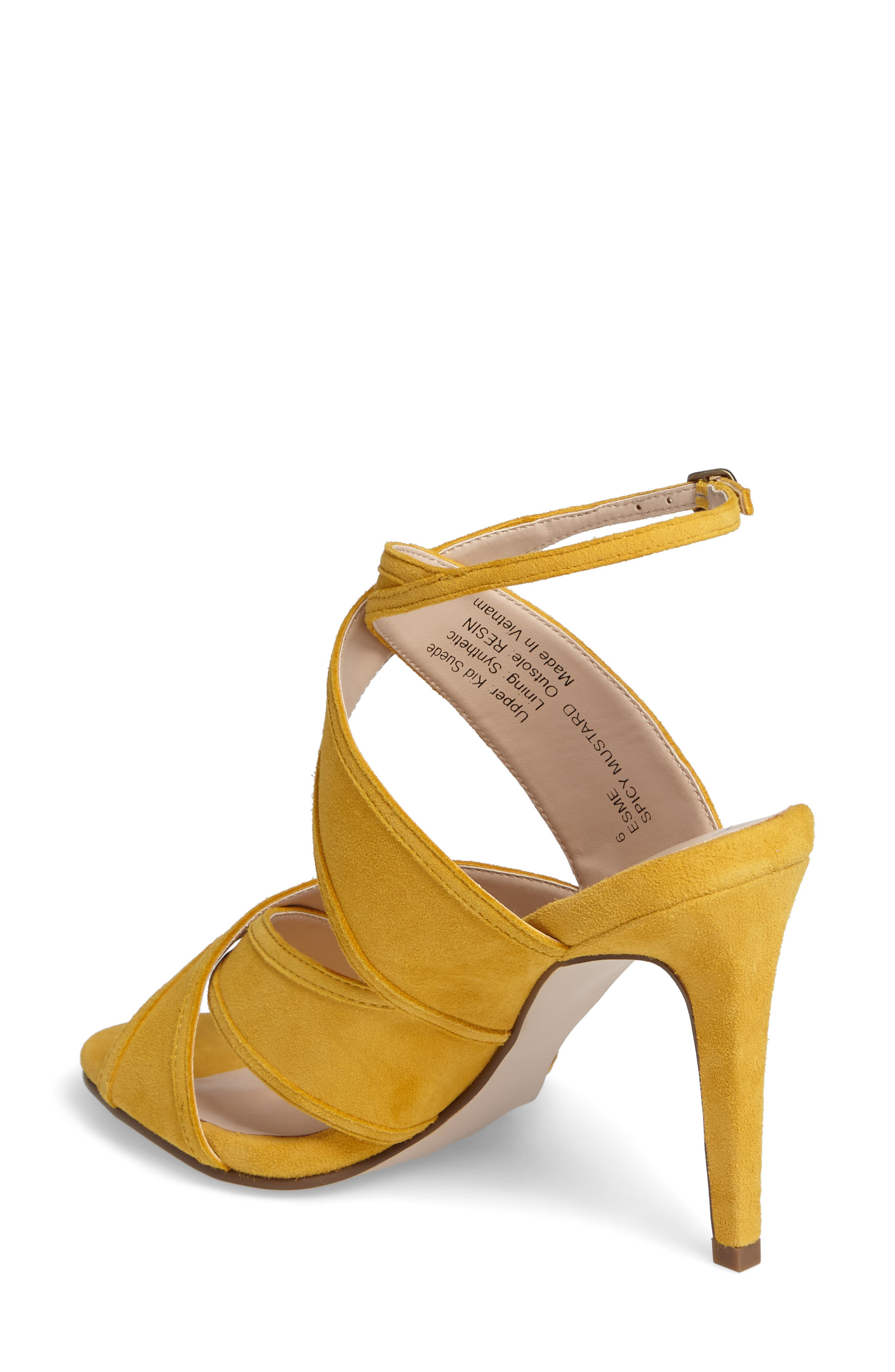 Esme Cross Strap Sandal,                             Alternate thumbnail 2, color,                             Spicy Mustard Suede