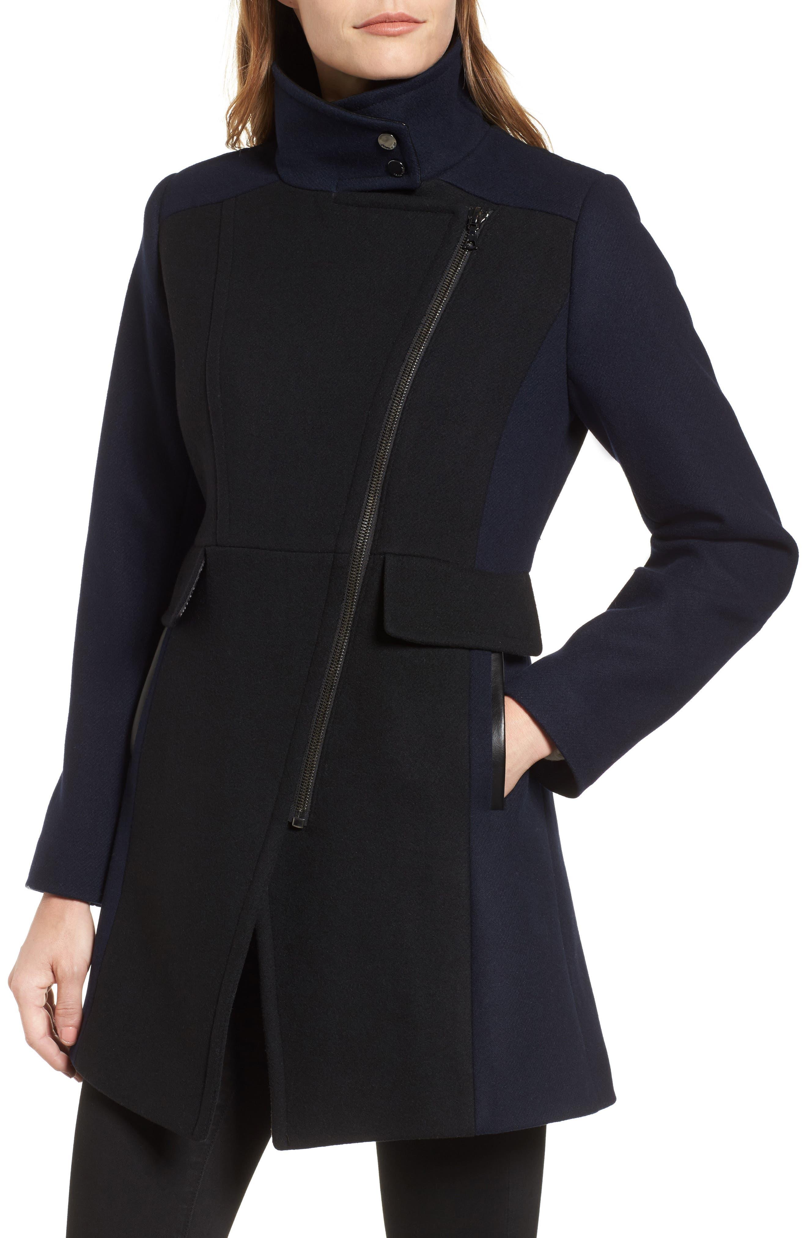 Eleanor Leather Trim Wool Blend Coat,                             Alternate thumbnail 4, color,                             Black/ Navy