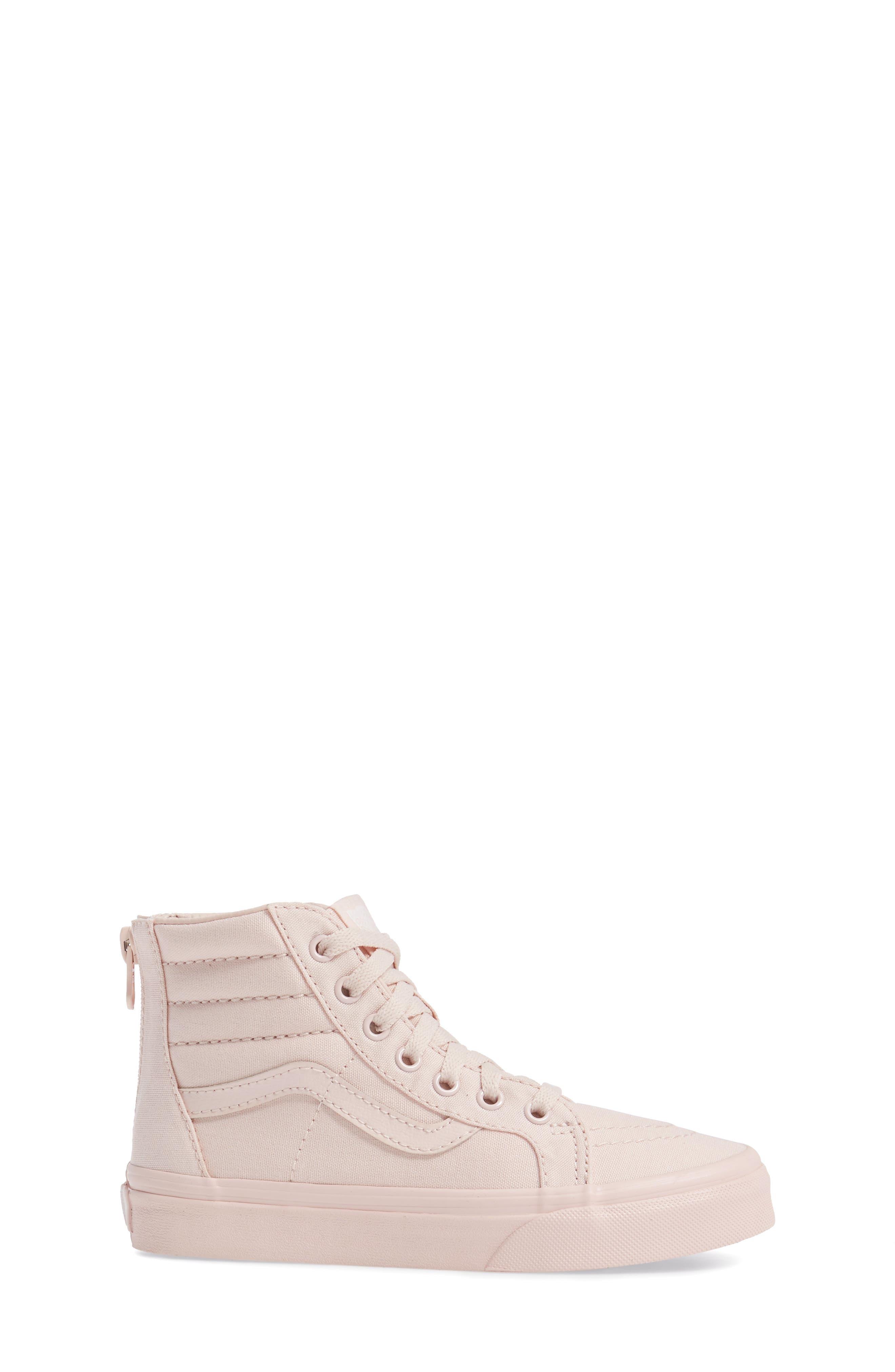SK8-Hi Zip Sneaker,                             Alternate thumbnail 3, color,                             Peach Blush Canvas