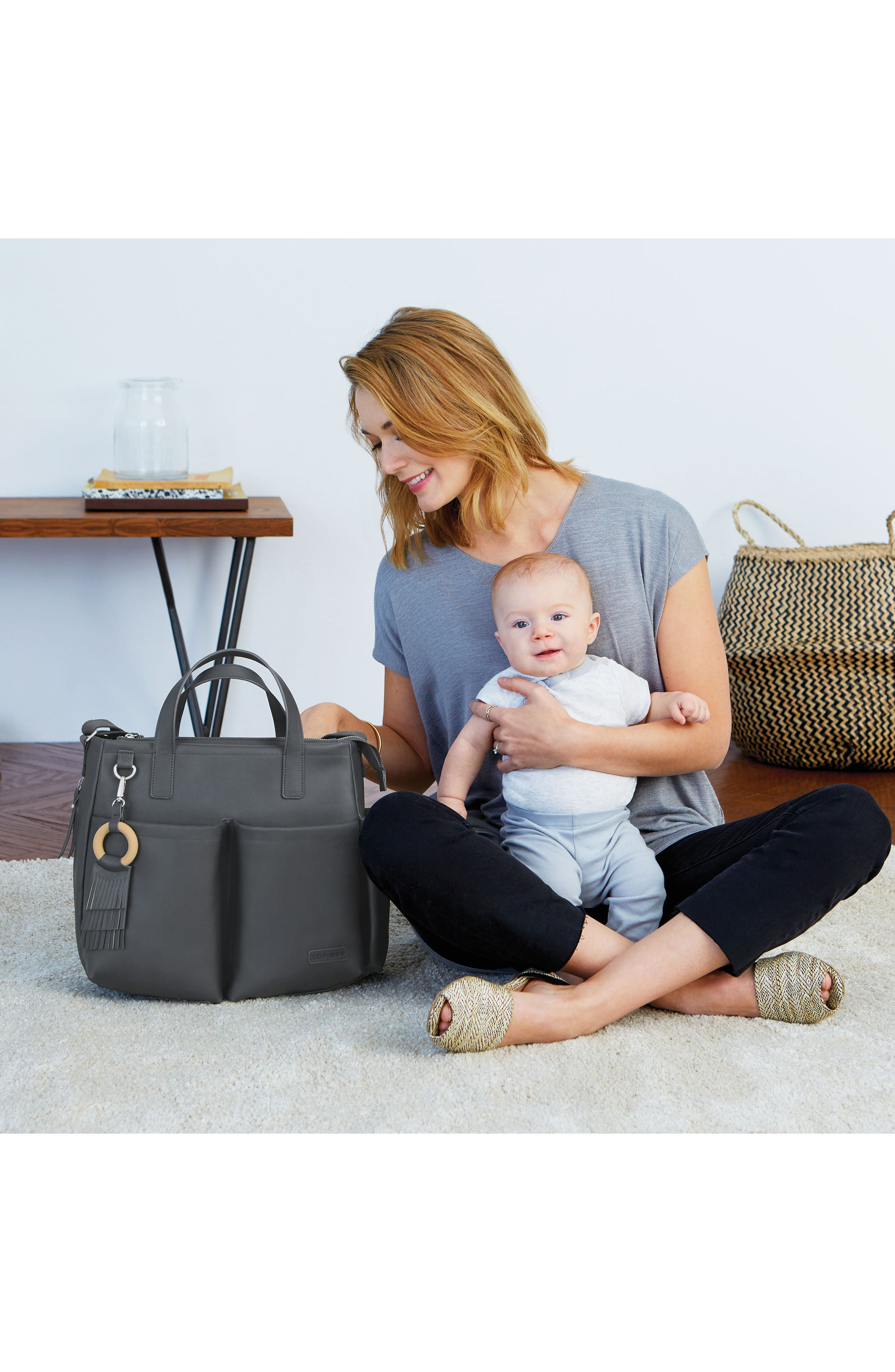 Greenwich Simply Chic Diaper Tote,                             Alternate thumbnail 6, color,                             Smoke