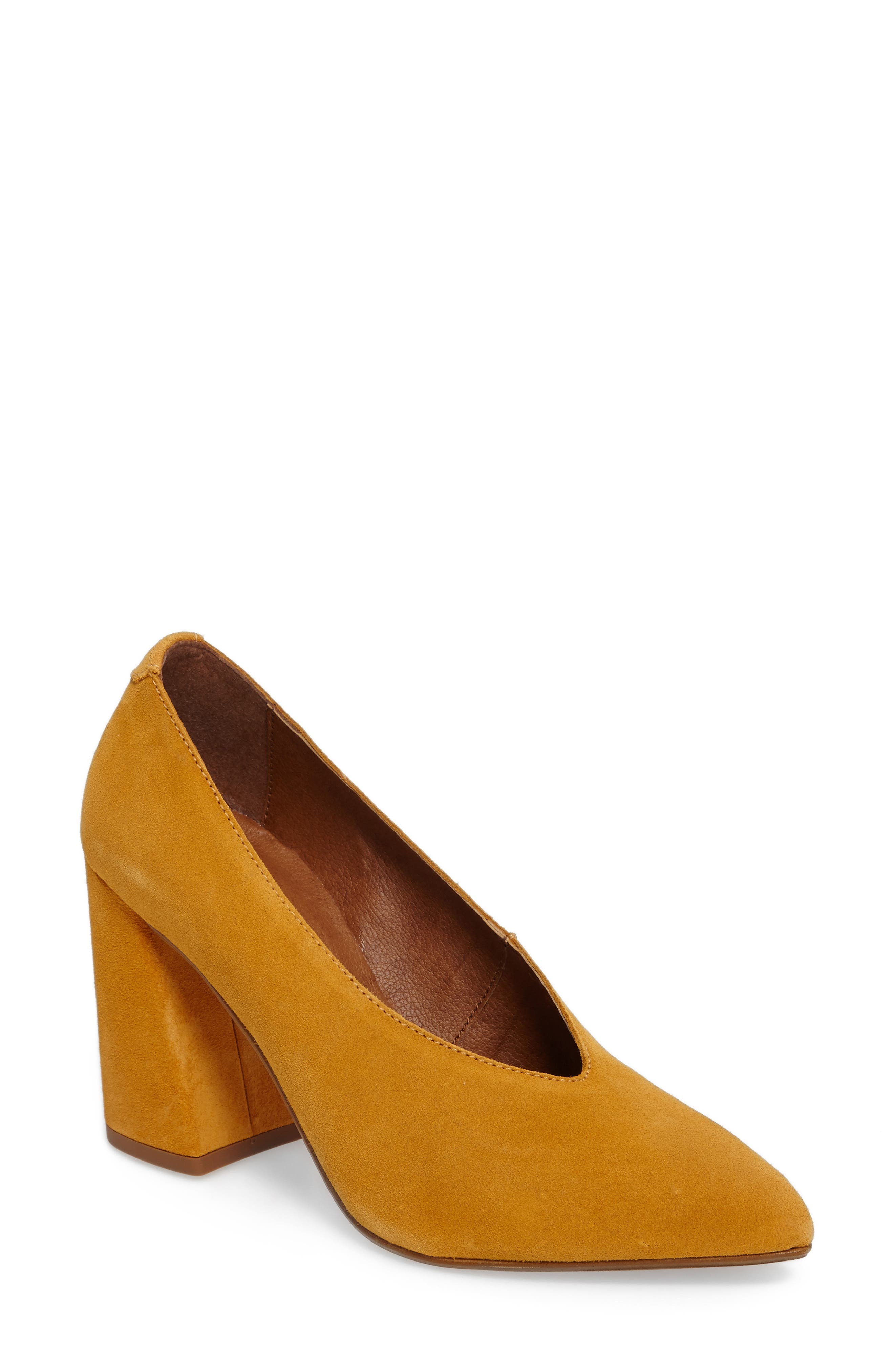 Gina V Cut Pump,                         Main,                         color, Mustard Leather