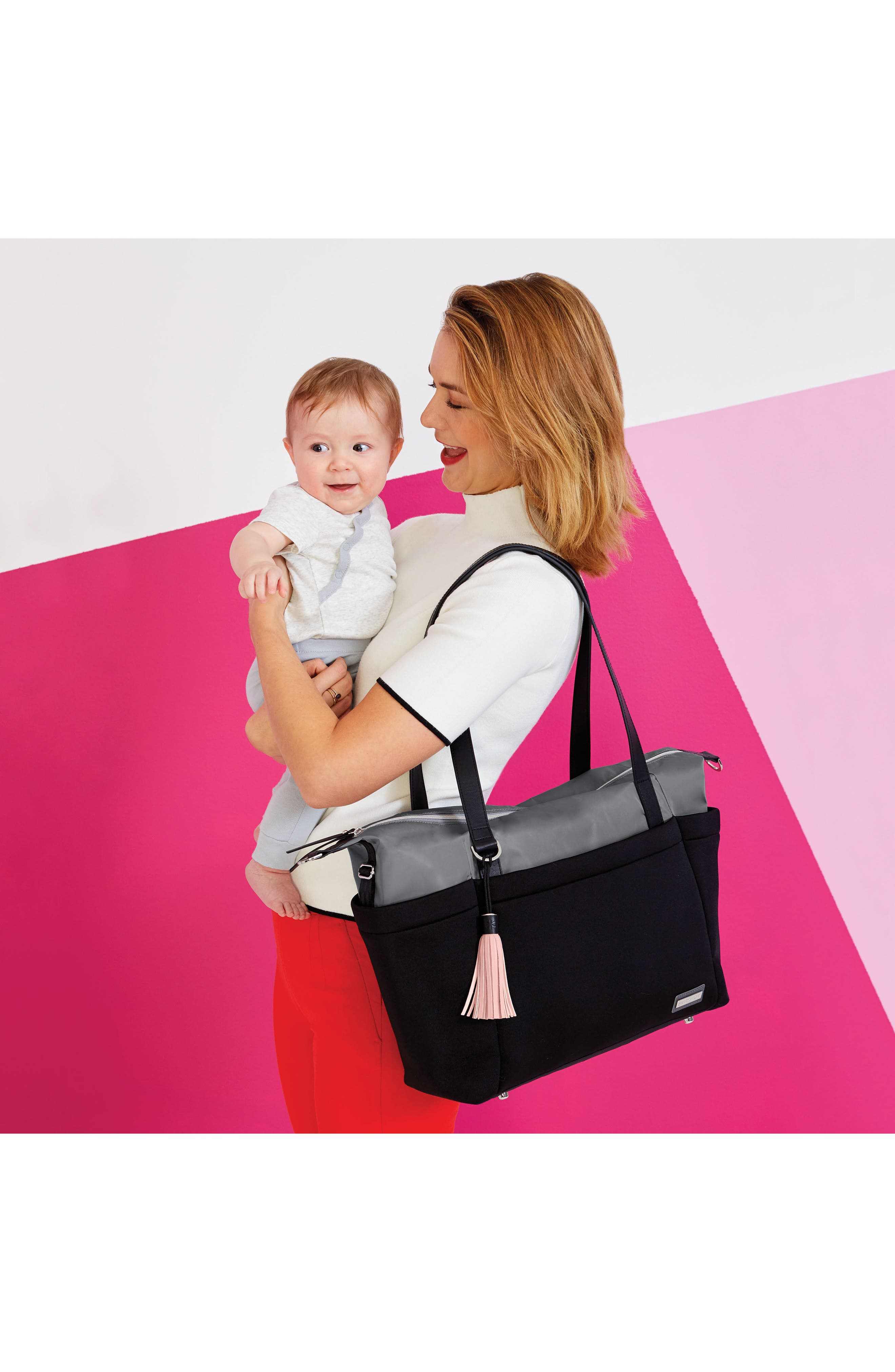 Nolita Diaper Bag,                             Alternate thumbnail 7, color,                             Black/ Grey
