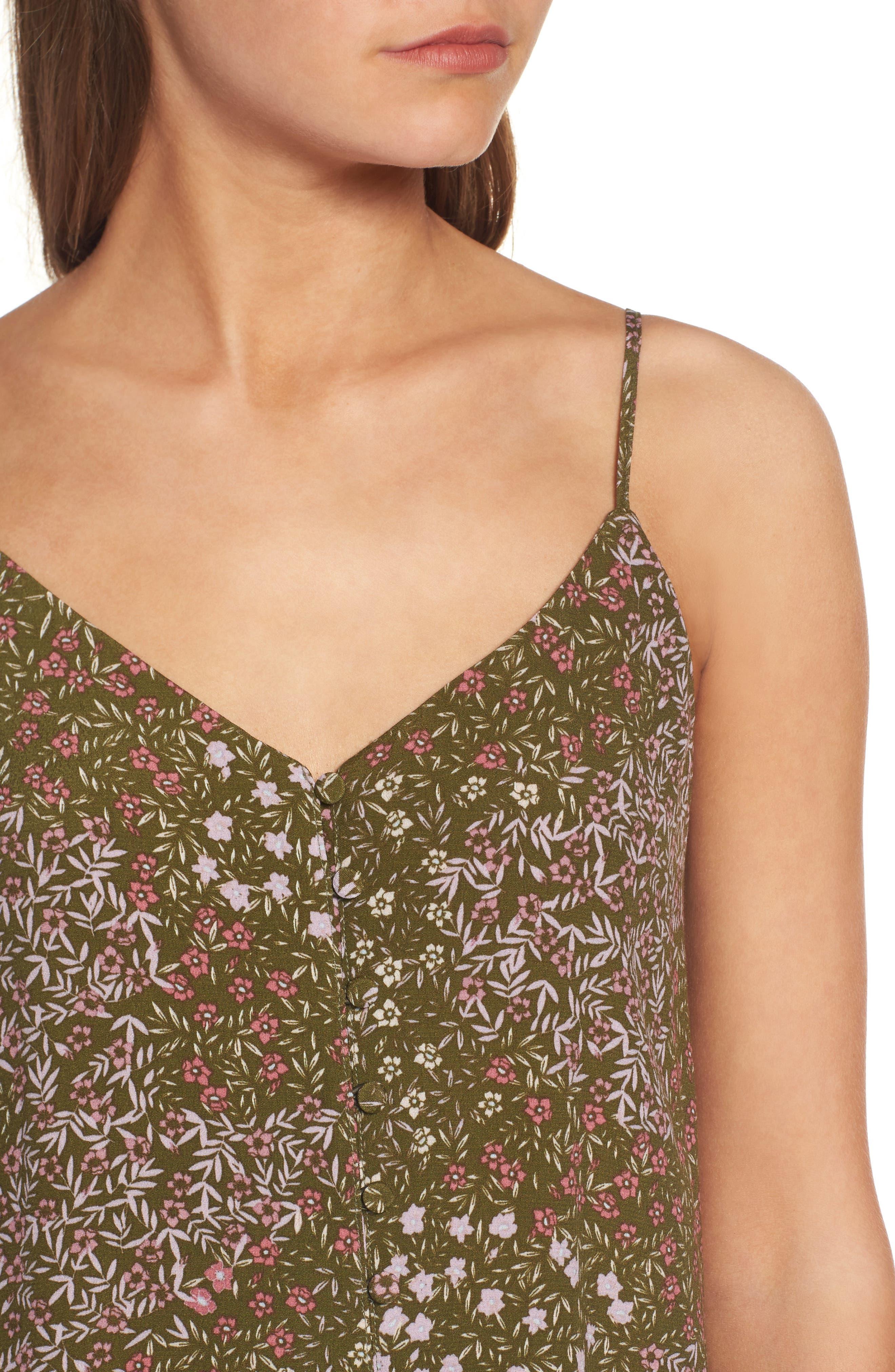 Front Button Slipdress,                             Alternate thumbnail 4, color,                             Olive Dark Patchwork Floral