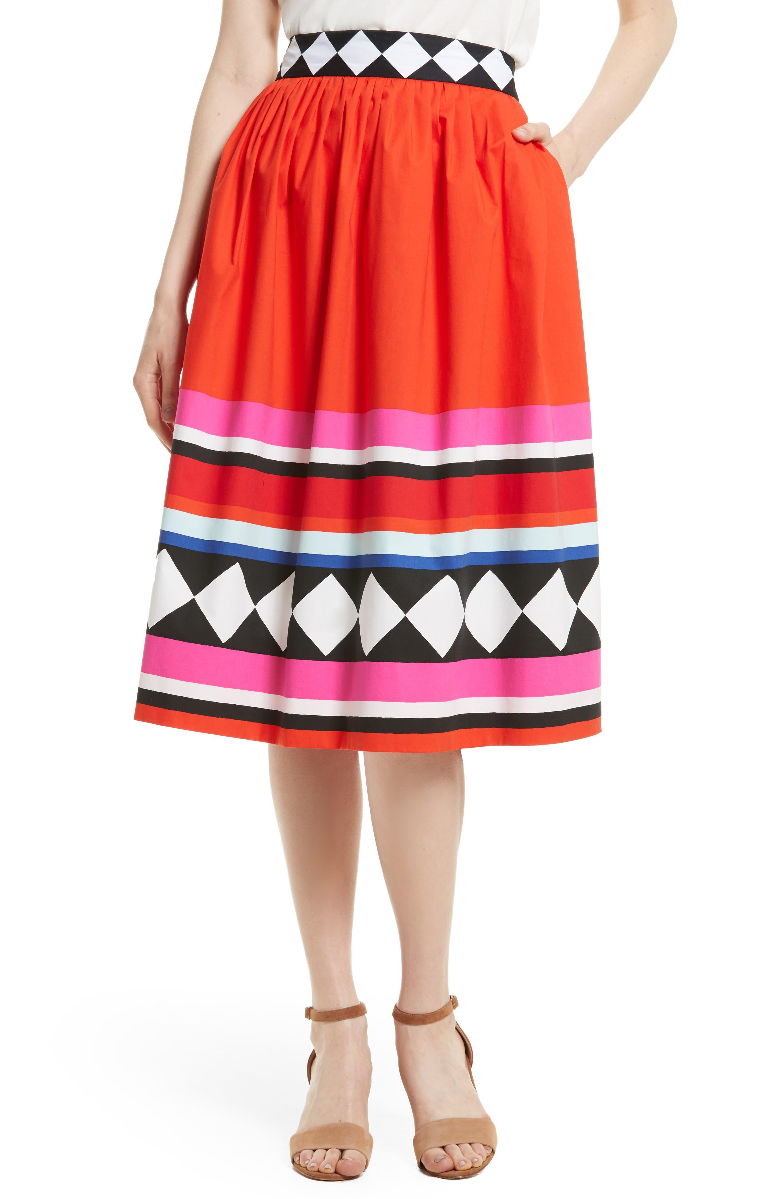 KATE SPADE NEW YORK cotton poplin midi skirt