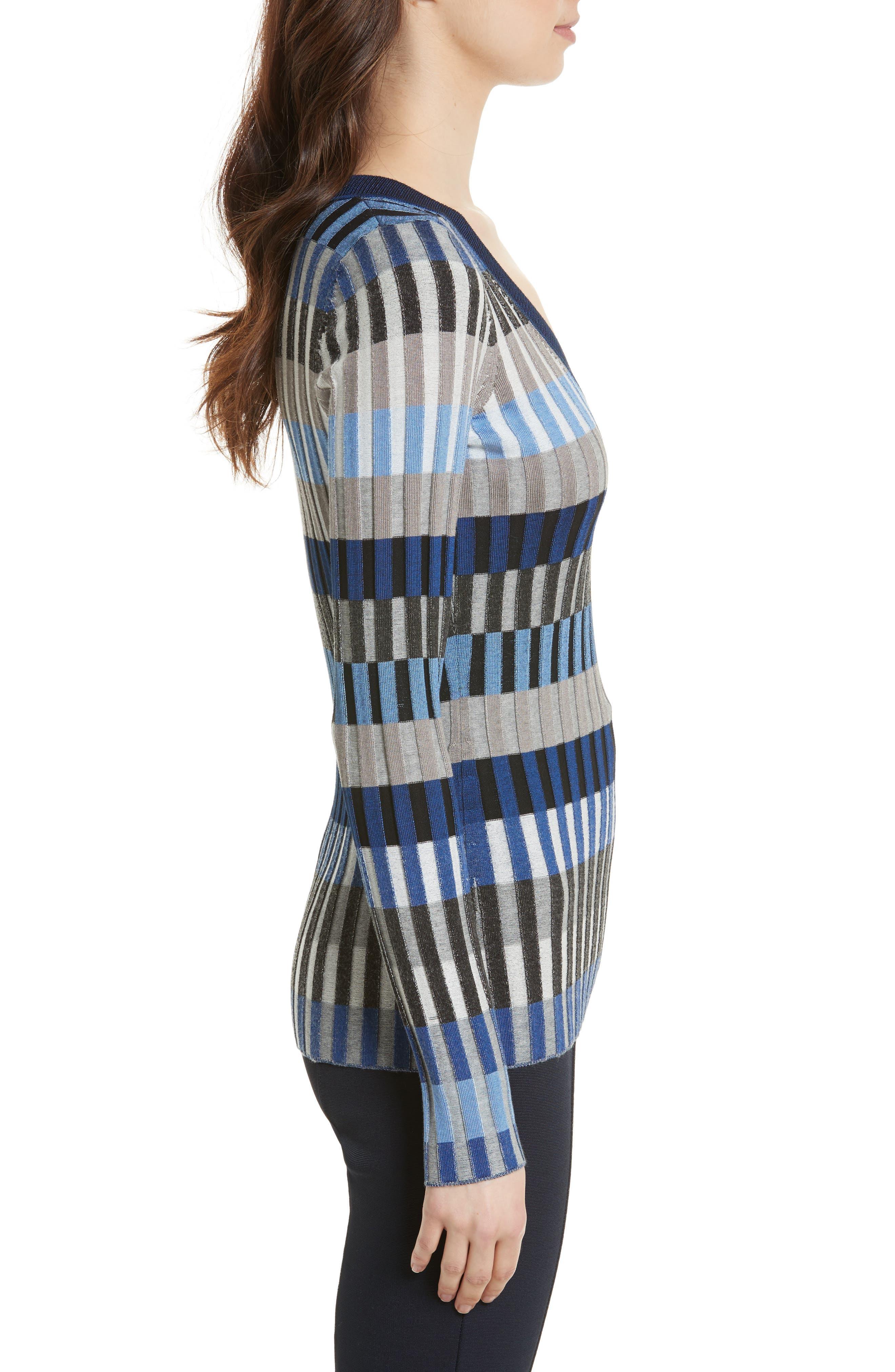 Stripe Rib Knit Sweater,                             Alternate thumbnail 3, color,                             Ash Combo