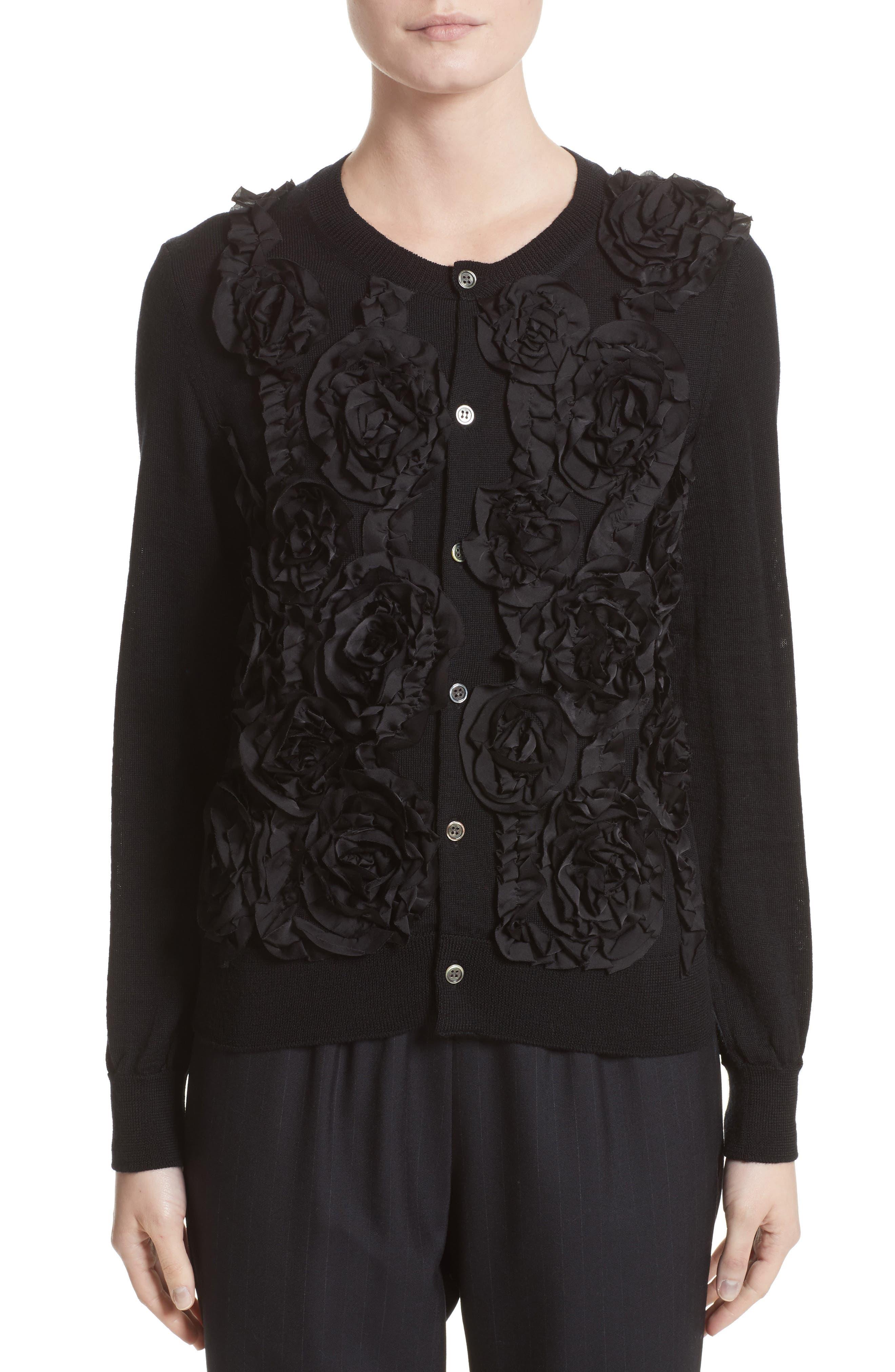 Floral Appliqué Button Cardigan,                         Main,                         color, Black