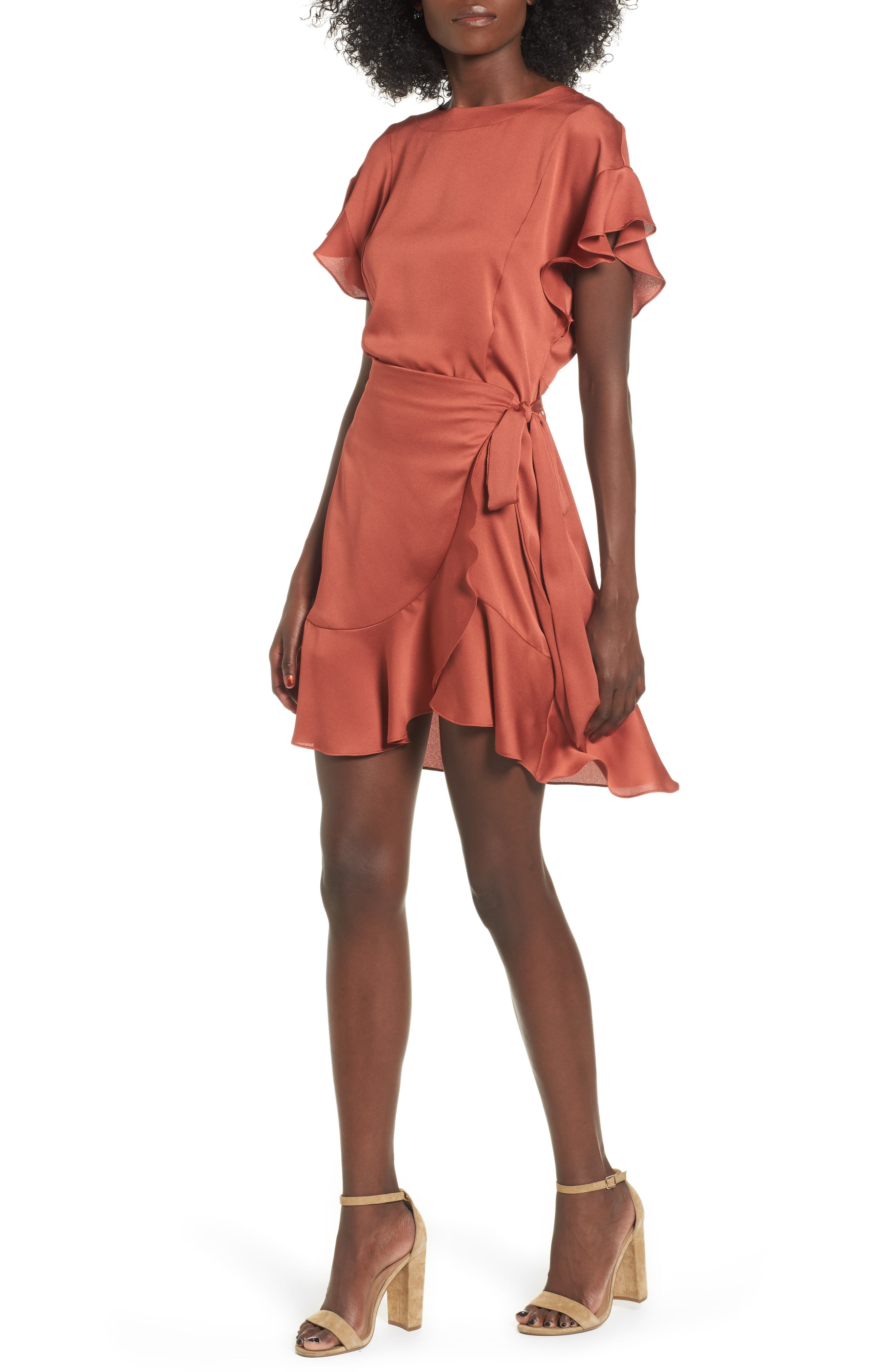 Ruffle Sleeve Satin Dress,                             Main thumbnail 1, color,                             Rust Marsala