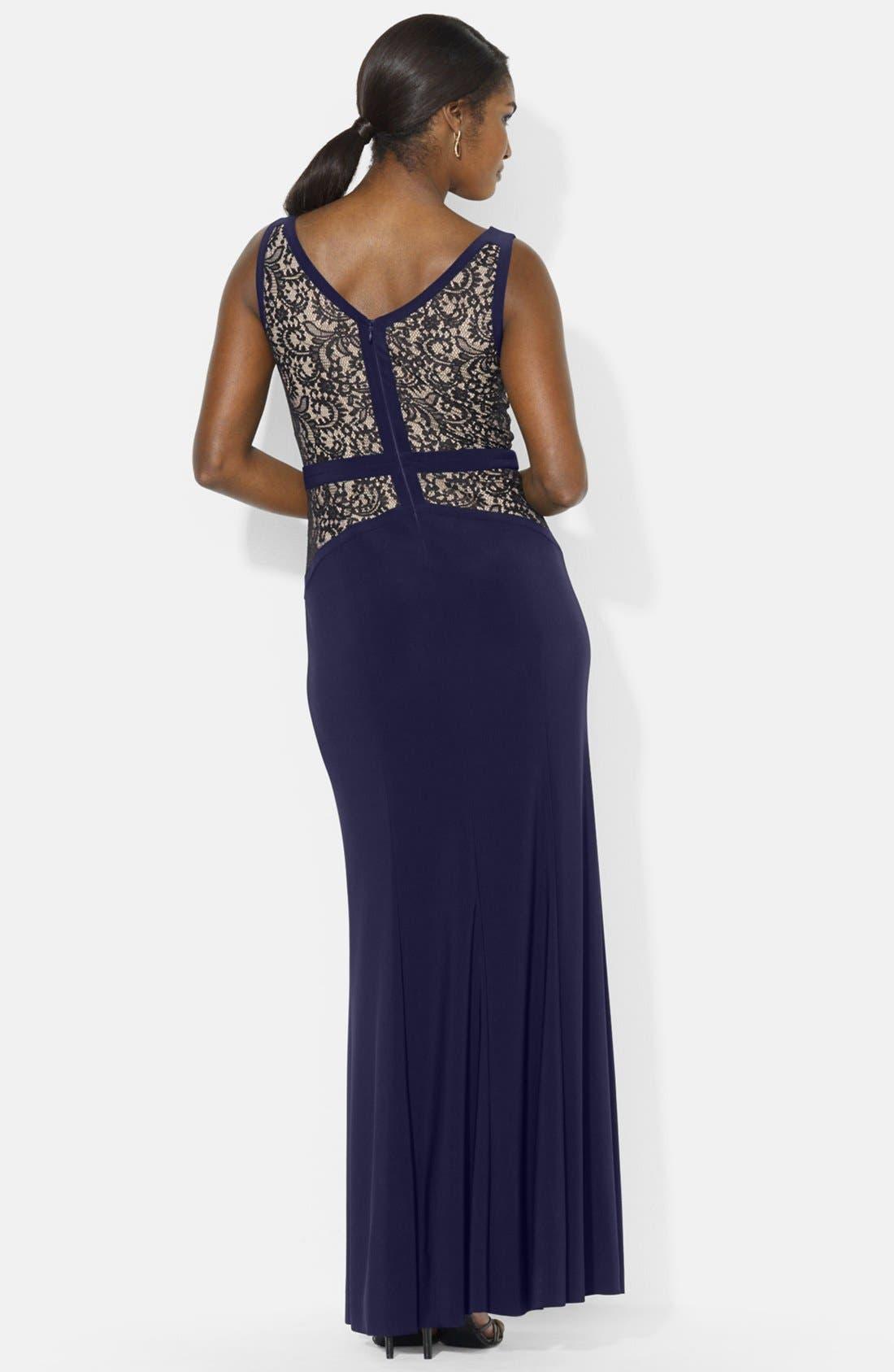 Alternate Image 2  - Lauren Ralph Lauren Lace & Jersey V-Neck Gown (Regular & Petite)