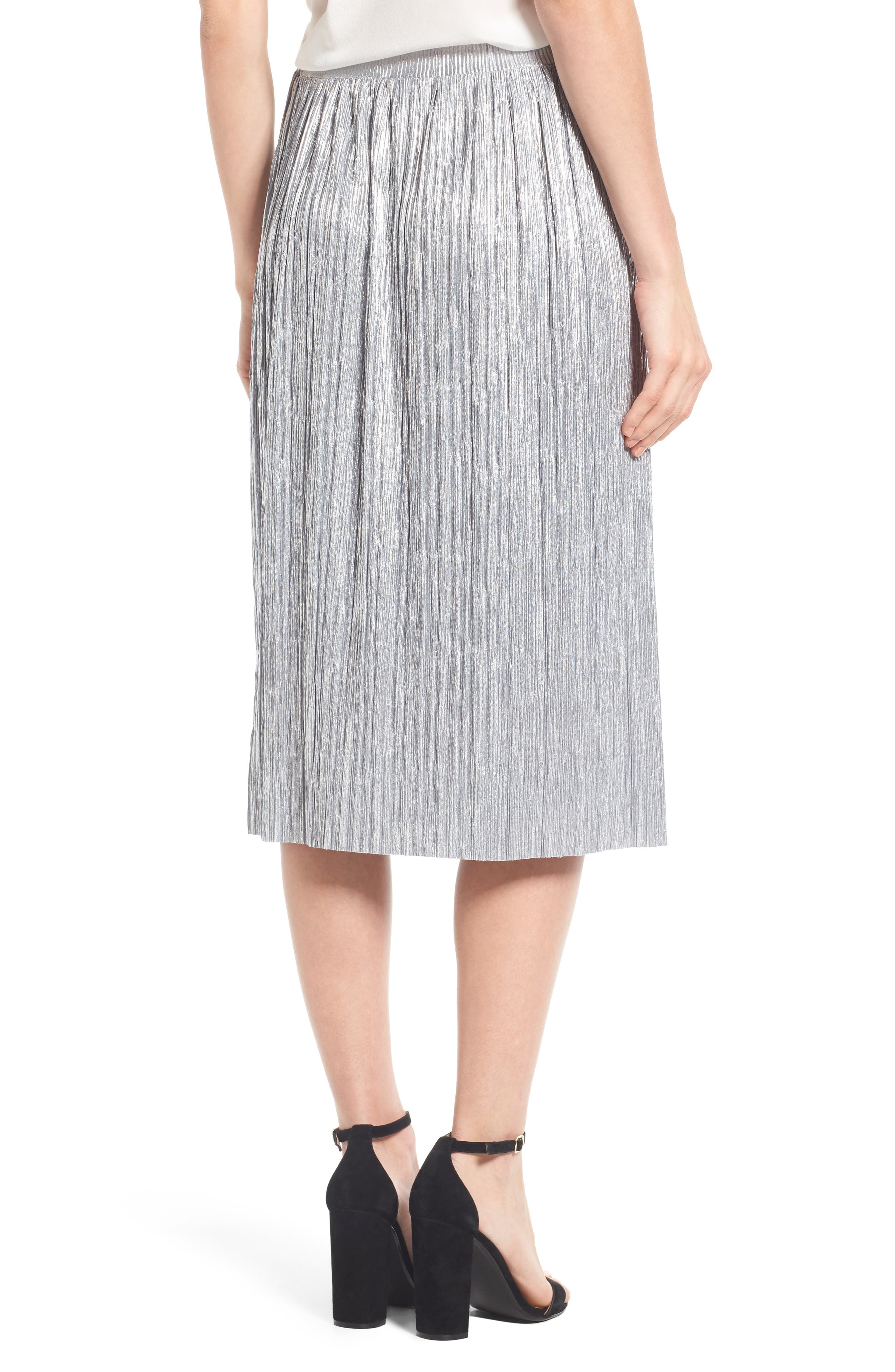 Alternate Image 2  - Vince Camuto Pleat Foiled Knit Skirt