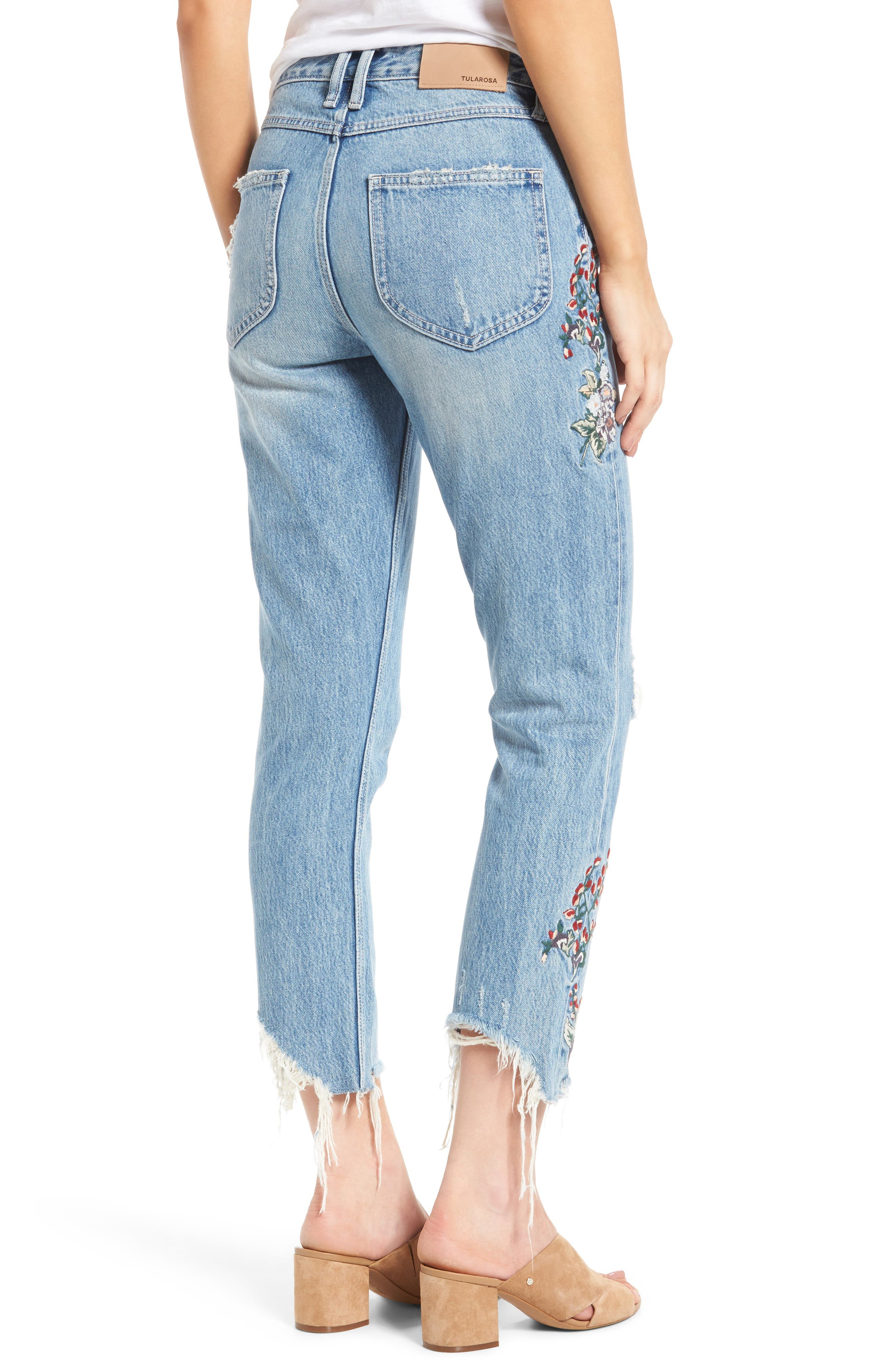 Hailey Embroidered Straight Leg Crop Jeans,                             Alternate thumbnail 3, color,                             Tala