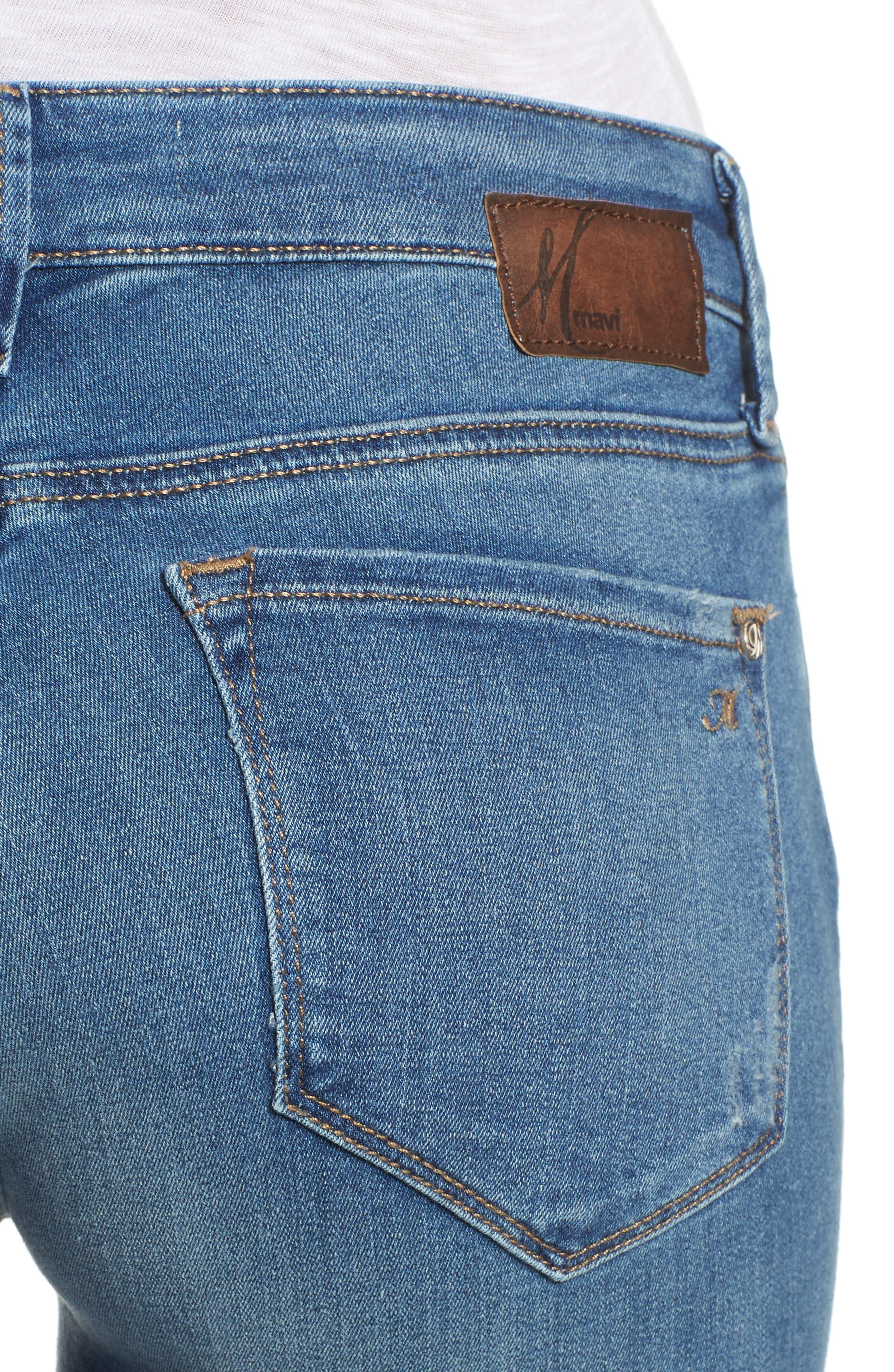 Alternate Image 4  - Mavi Jeans Adriana Stretch Skinny Jeans (Mid Destroyed Tribecca)