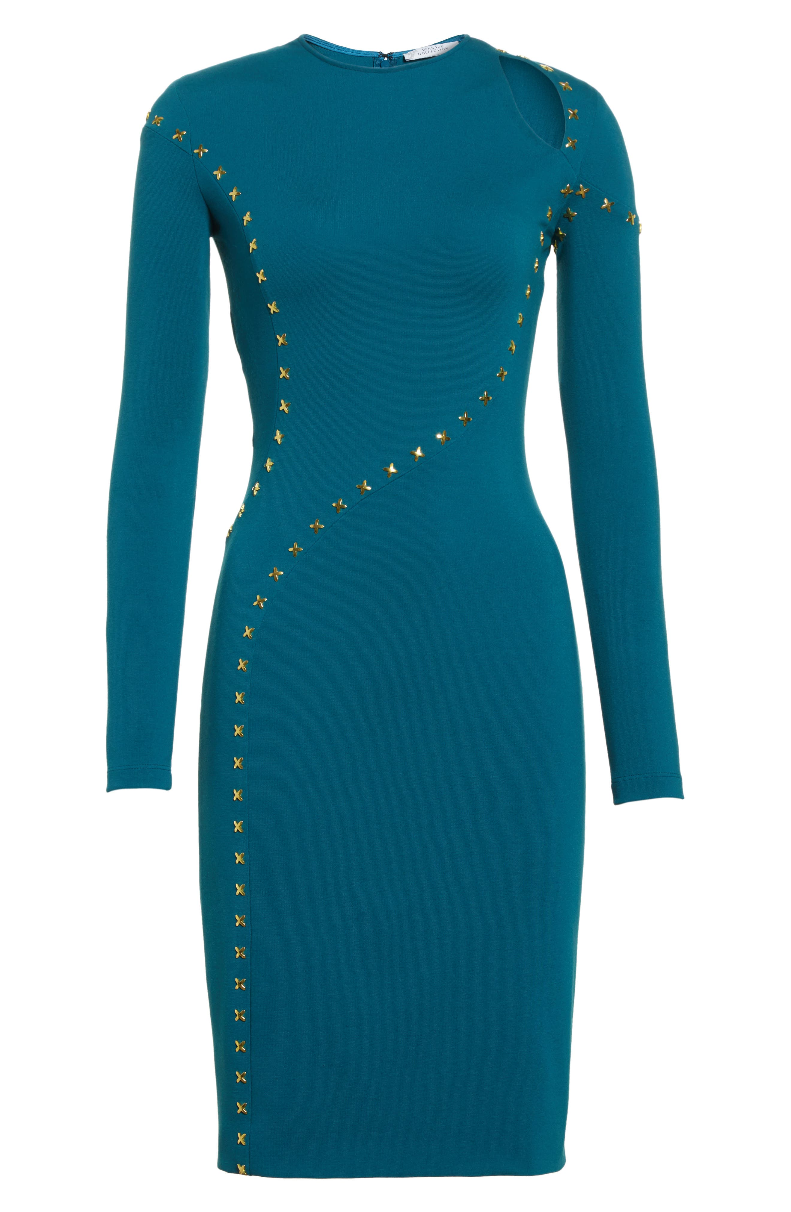 Collection Studded Cutout Dress,                             Alternate thumbnail 7, color,                             Peacock/ Gold