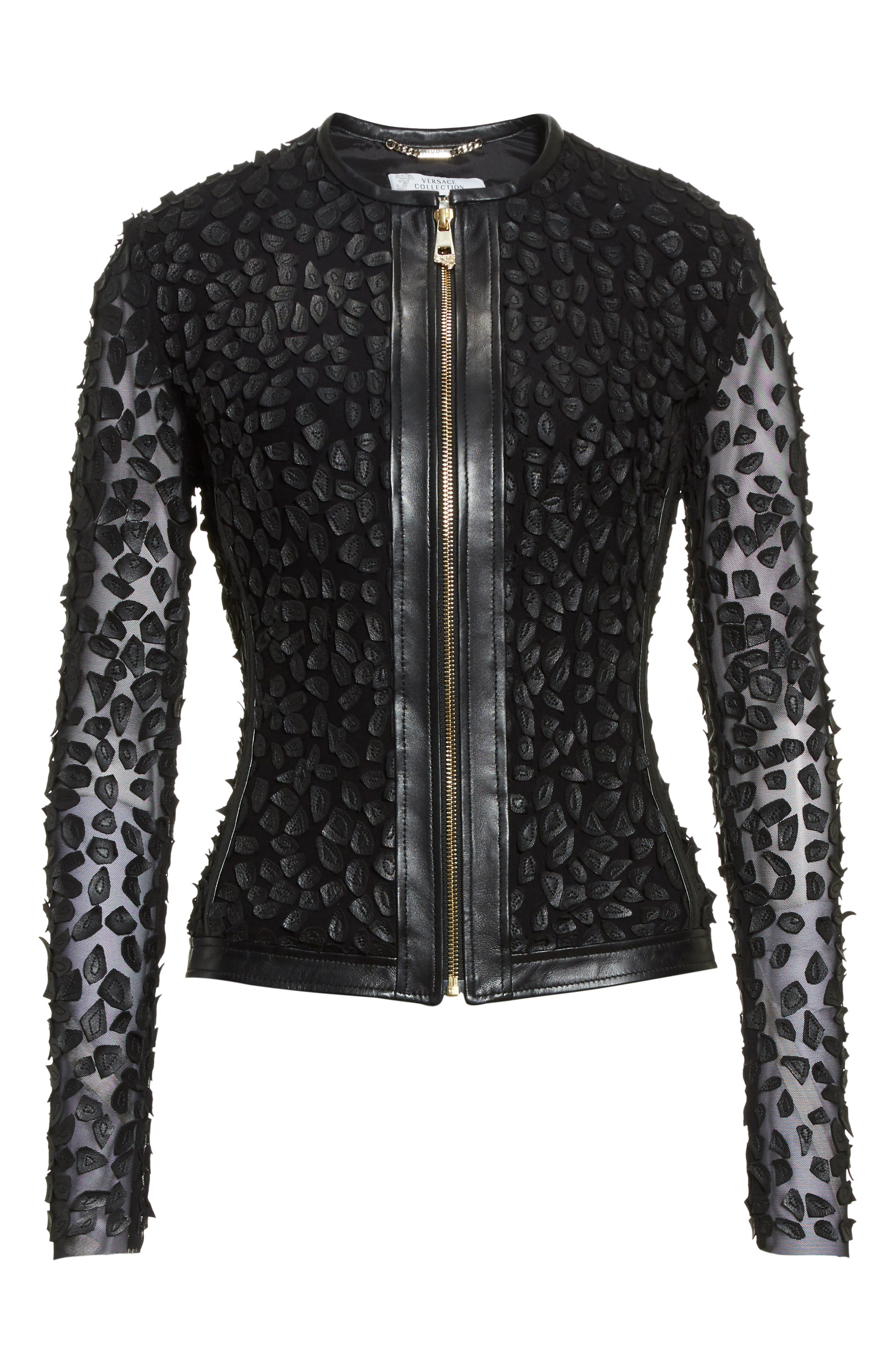Collection Pieced Leather Jacket,                             Alternate thumbnail 7, color,                             Black