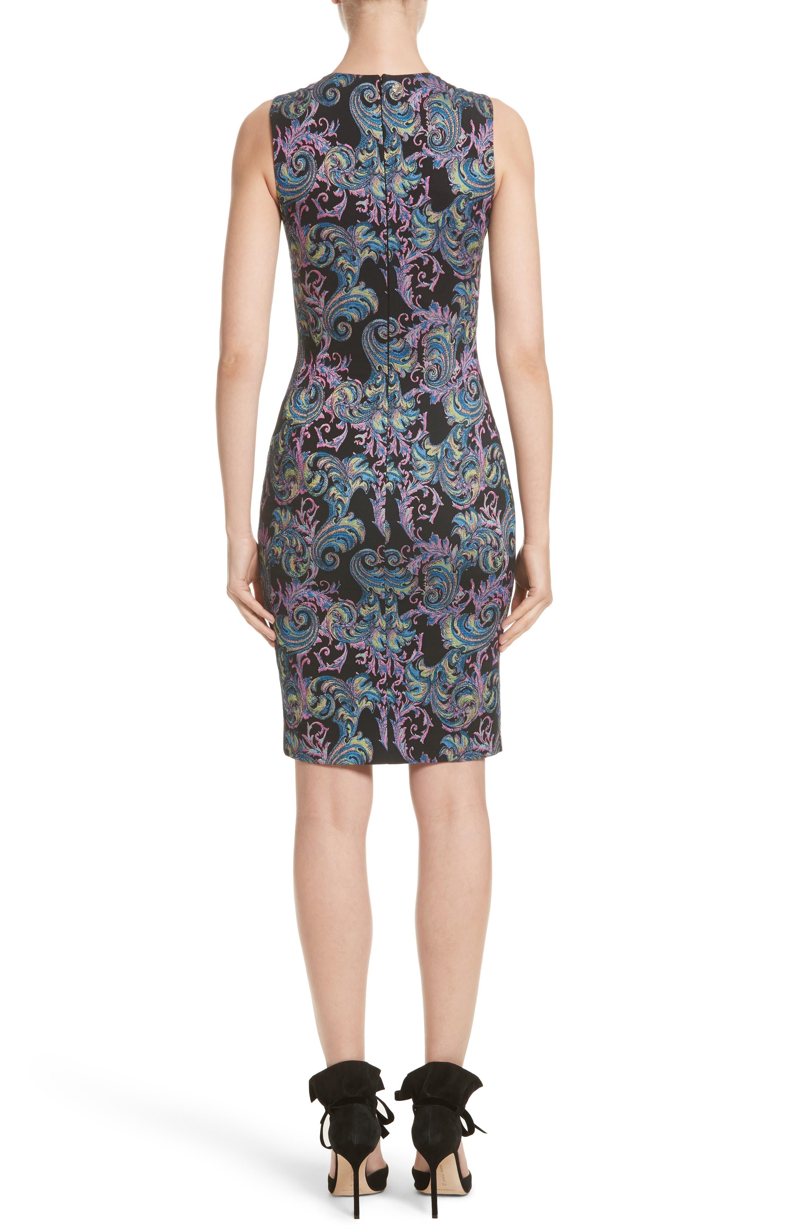 Collection Jacquard Sheath Dress,                             Alternate thumbnail 2, color,                             Black Multi