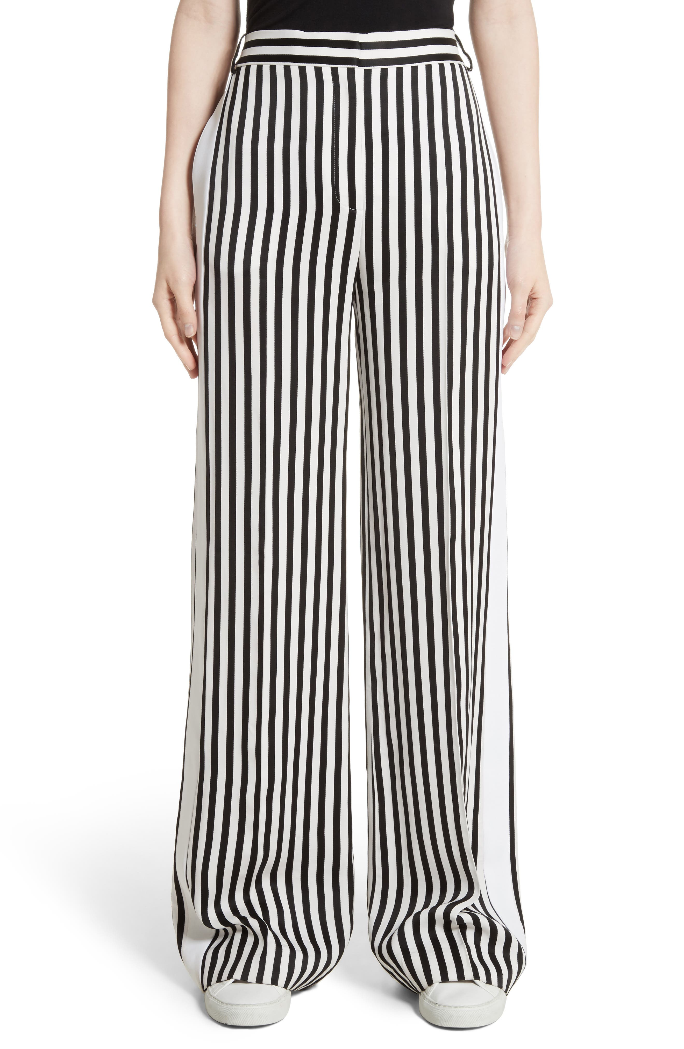 Victoria, Victoria Beckham Stripe Wide Leg Tuxedo Pants