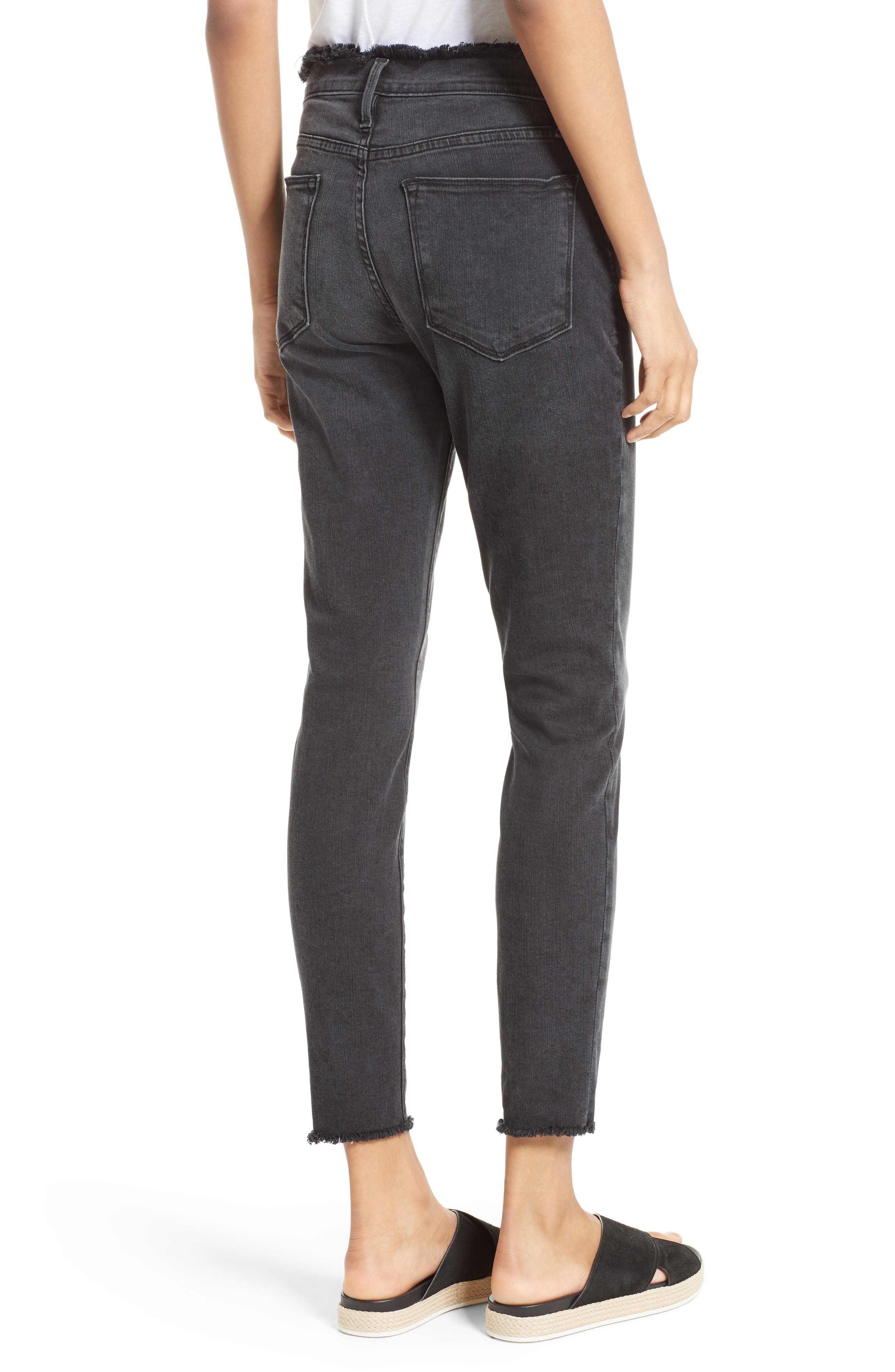Le High Skinny Frayed High Waist Jeans,                             Alternate thumbnail 3, color,                             Cottonwood
