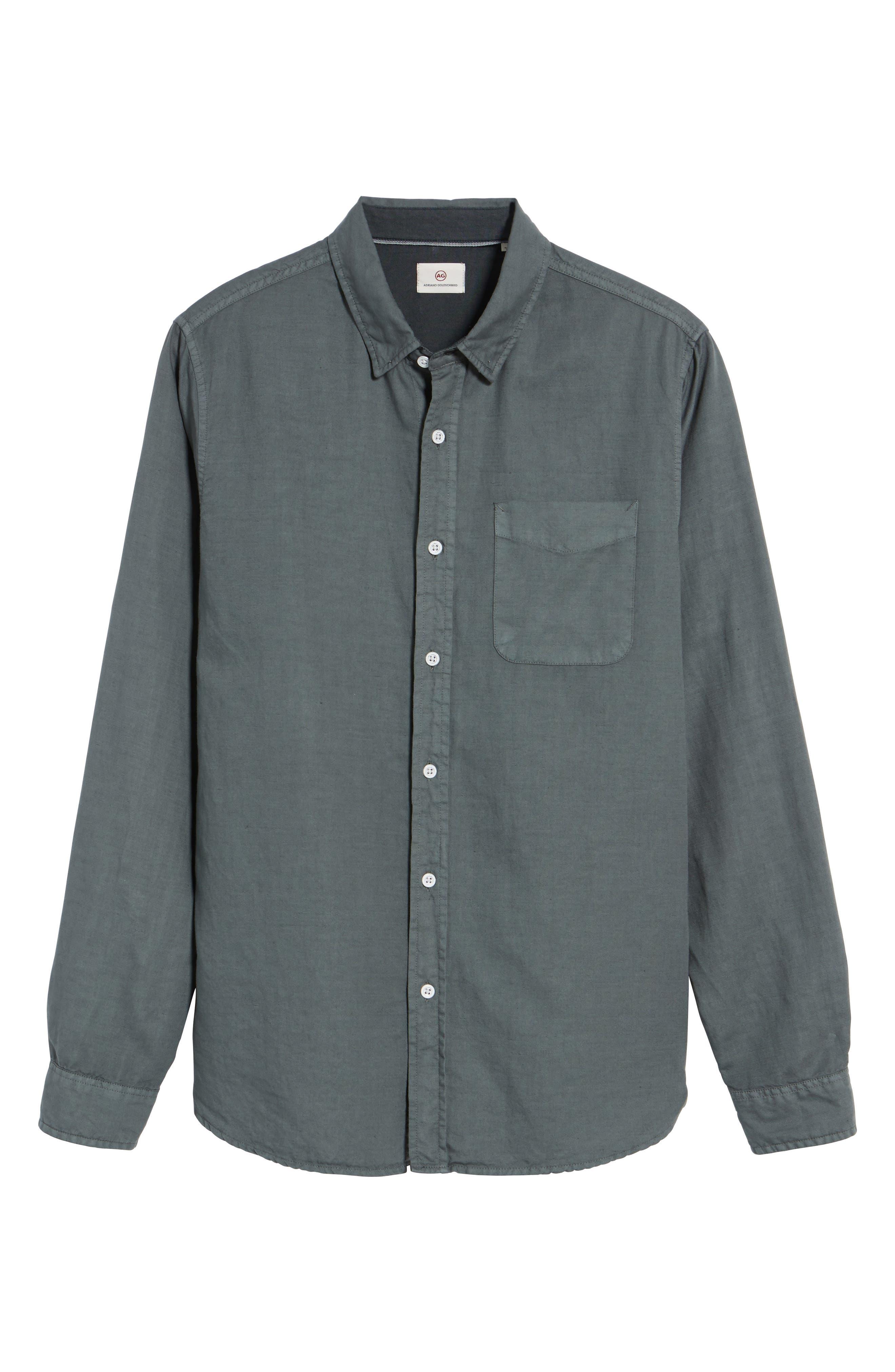 Colton Slim Fit Cotton & Linen Sport Shirt,                             Alternate thumbnail 5, color,                             Pigment Castlerock