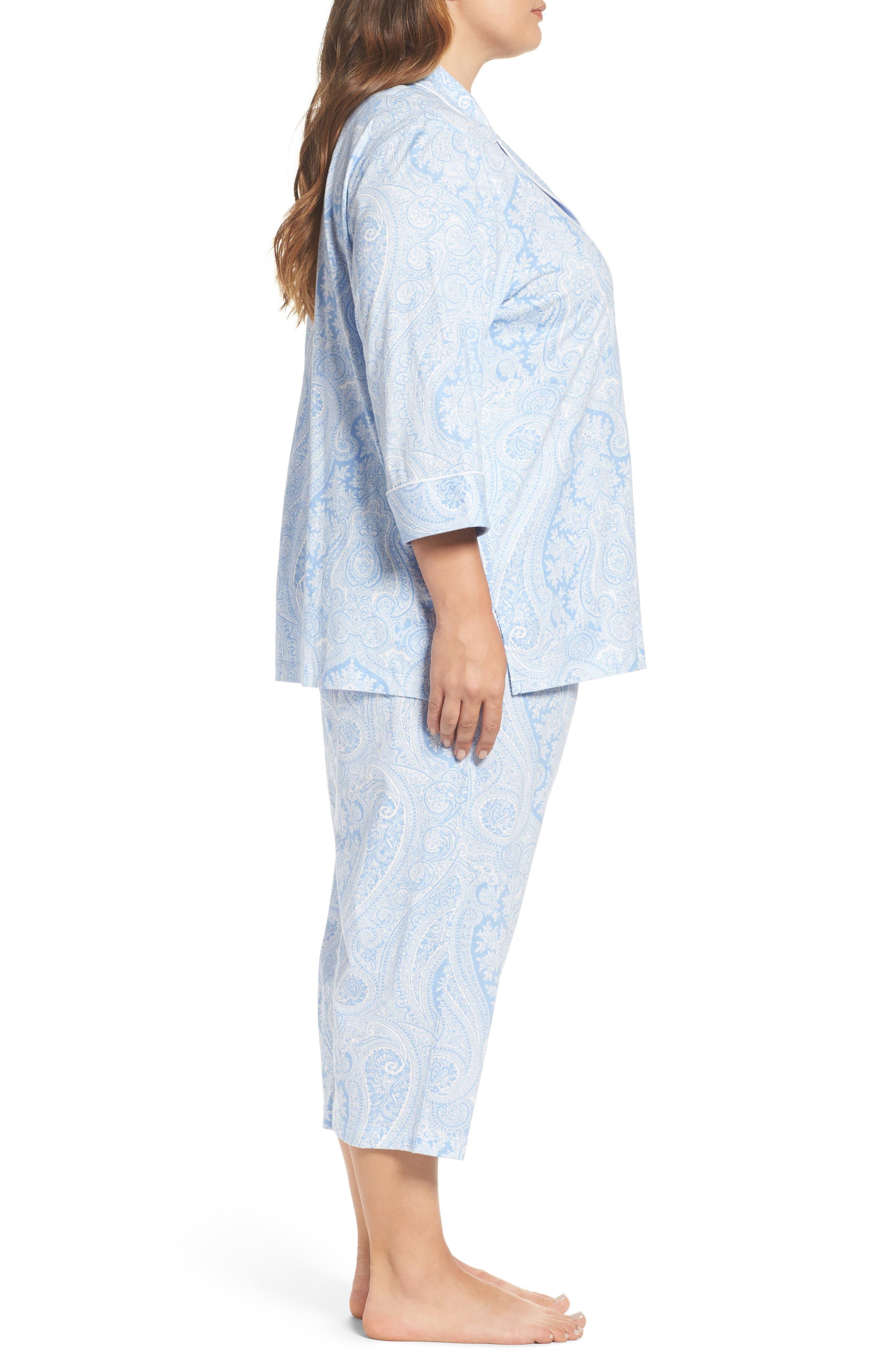 Alternate Image 3  - Lauren Ralph Lauren Knit Crop Pajamas (Plus Size) (Online Only)