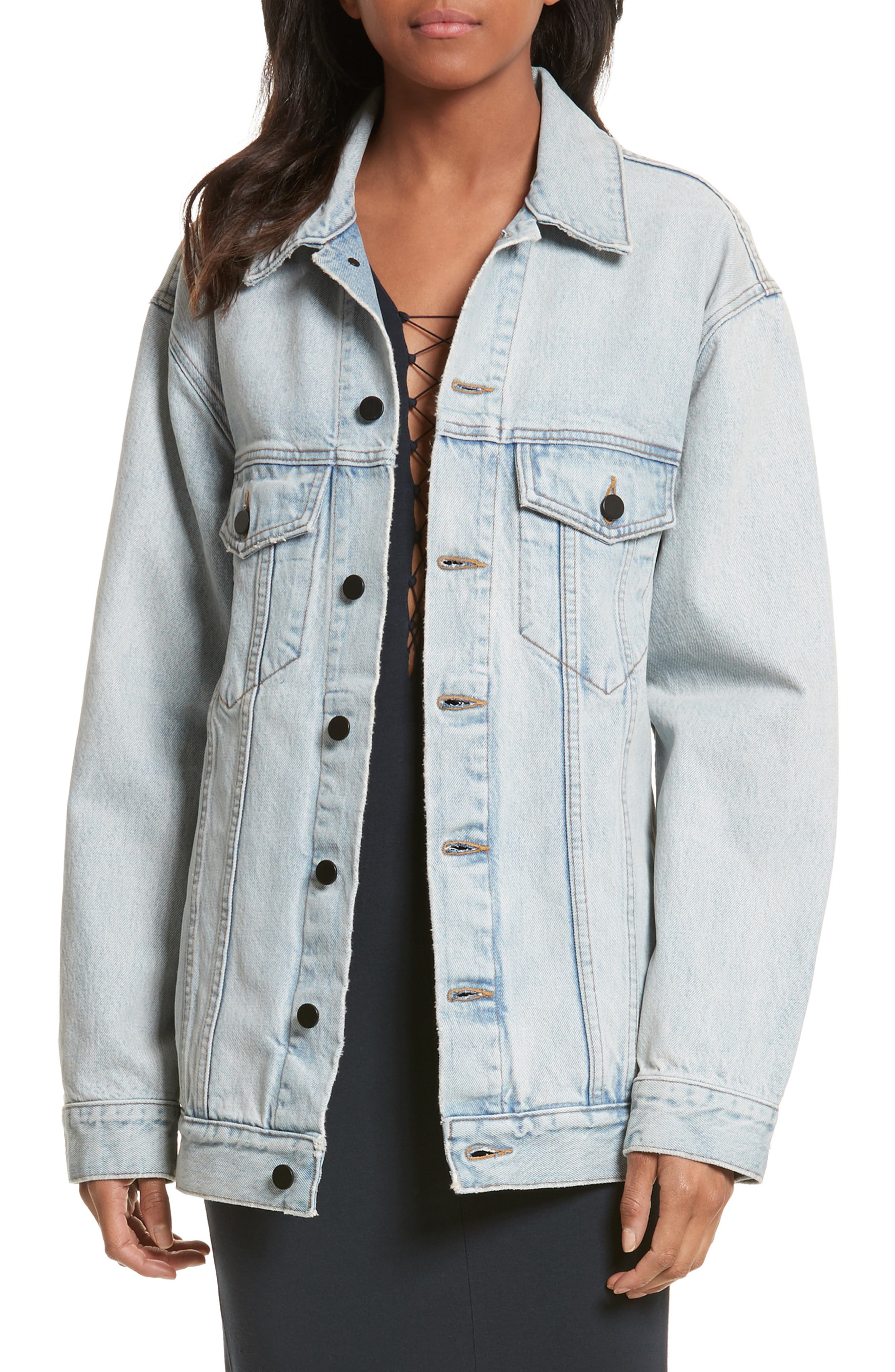 Denim x Alexander Wang Daze Bleach Oversize Denim Jacket,                             Main thumbnail 1, color,                             Bleach