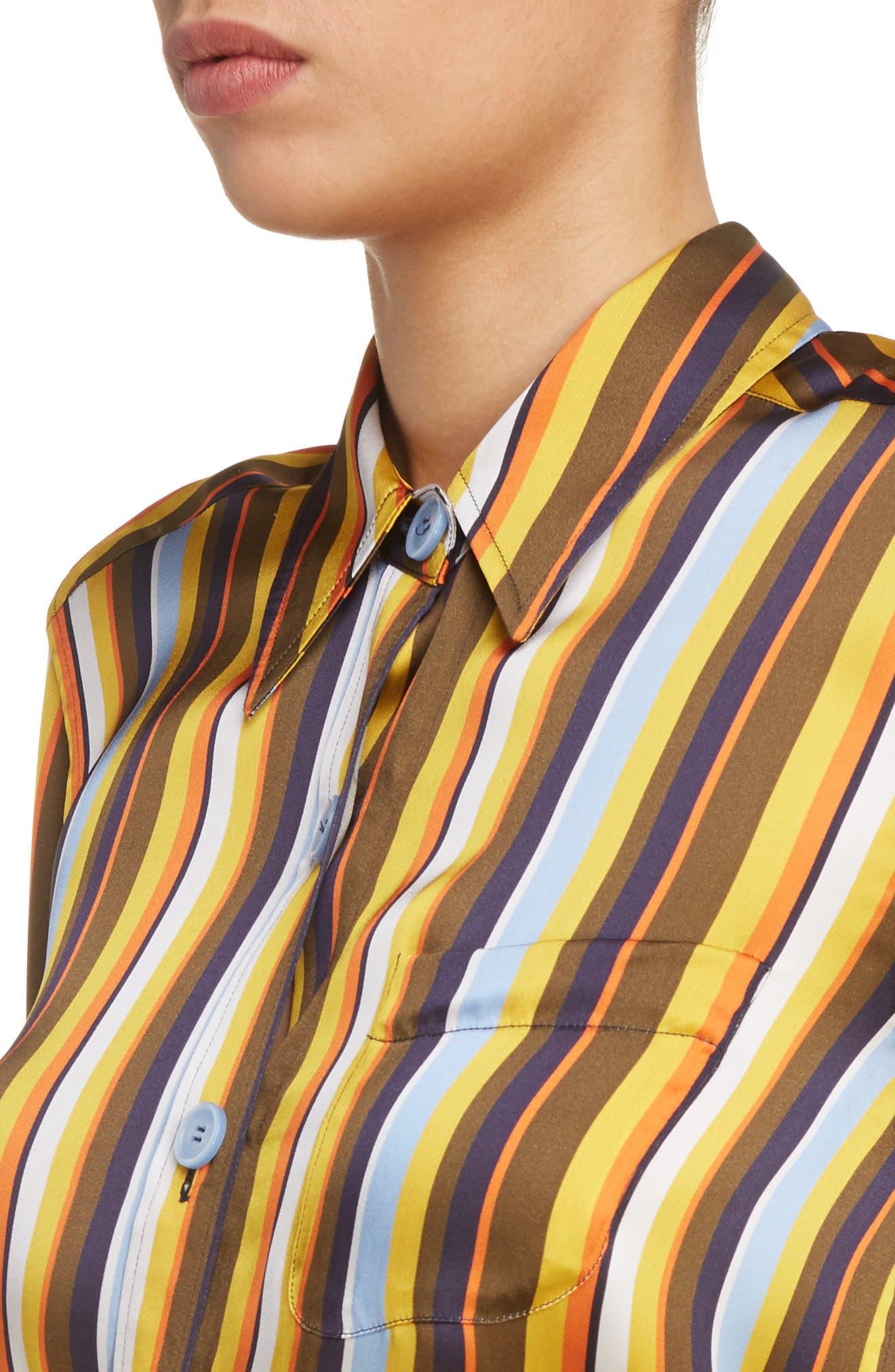Buse Multistripe Blouse,                             Alternate thumbnail 5, color,                             Multi Stripe Brown