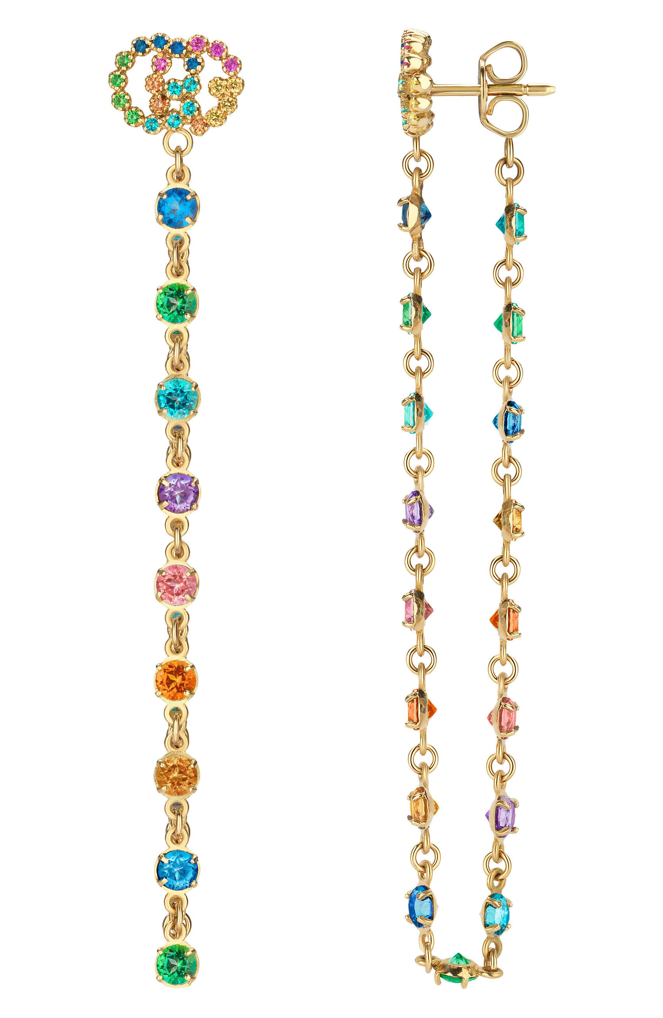 22fcced0e0e166 Gucci Double-G Multistone Chain Stud Earrings In 18Kt Yellow Gold &  Multicolor