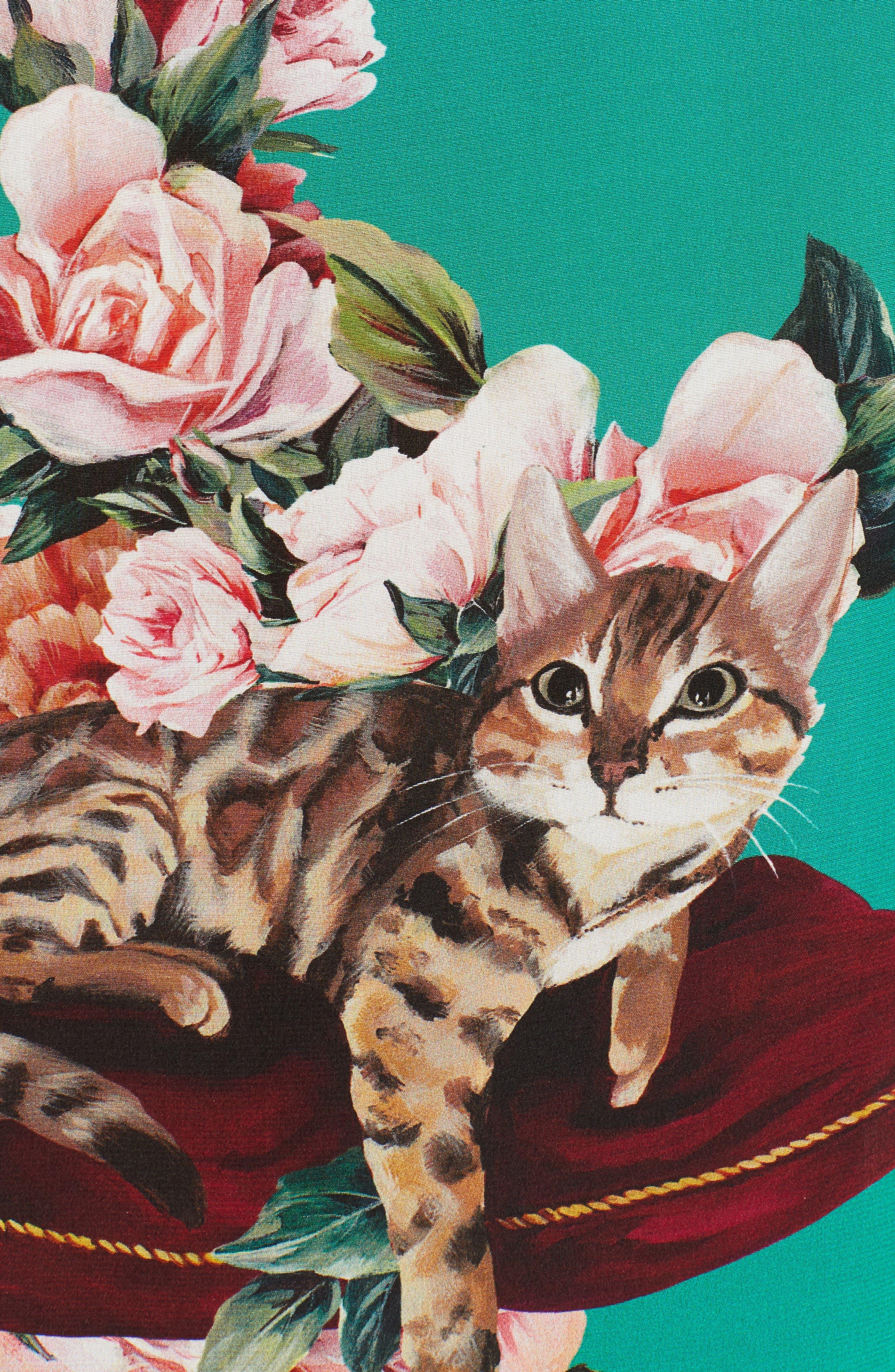 Alternate Image 5  - Dolce&Gabbana Cat Print Silk Bell Sleeve Blouse