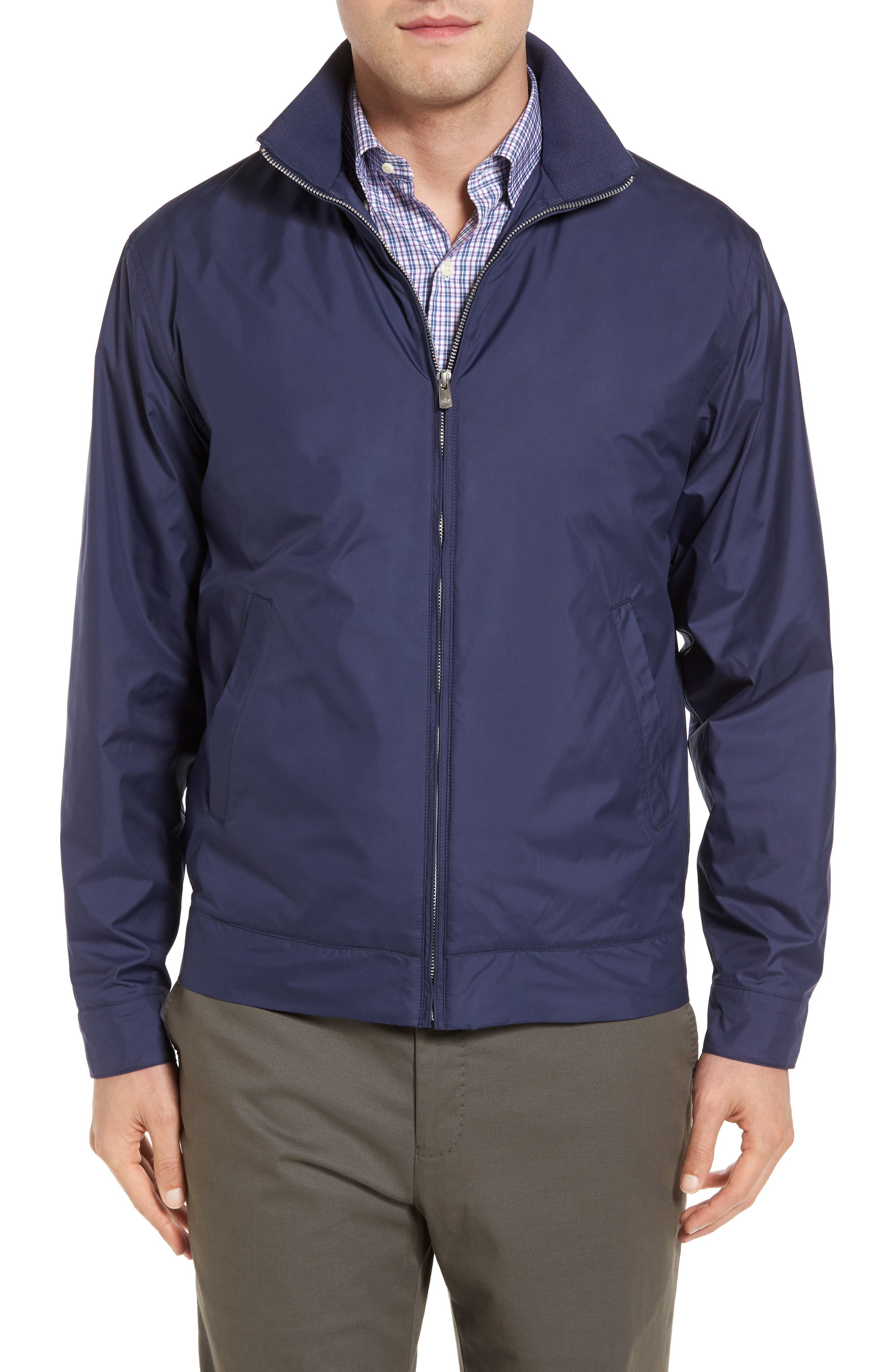Navy Small Men/'s Reversible Water-Resistant Hooded Jacket Beige