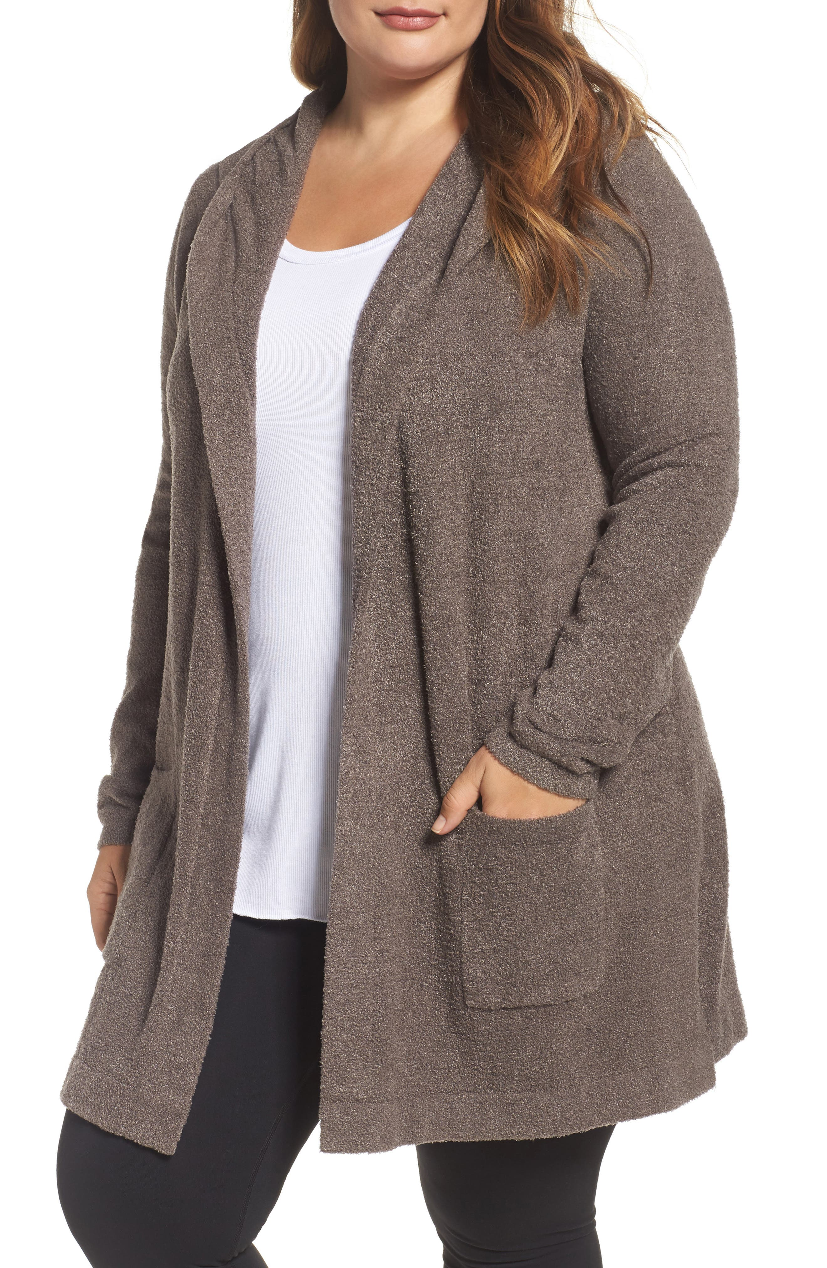 Main Image - Barefoot Dreams® Cozychic Lite® Coastal Hooded Cardigan (Plus Size)