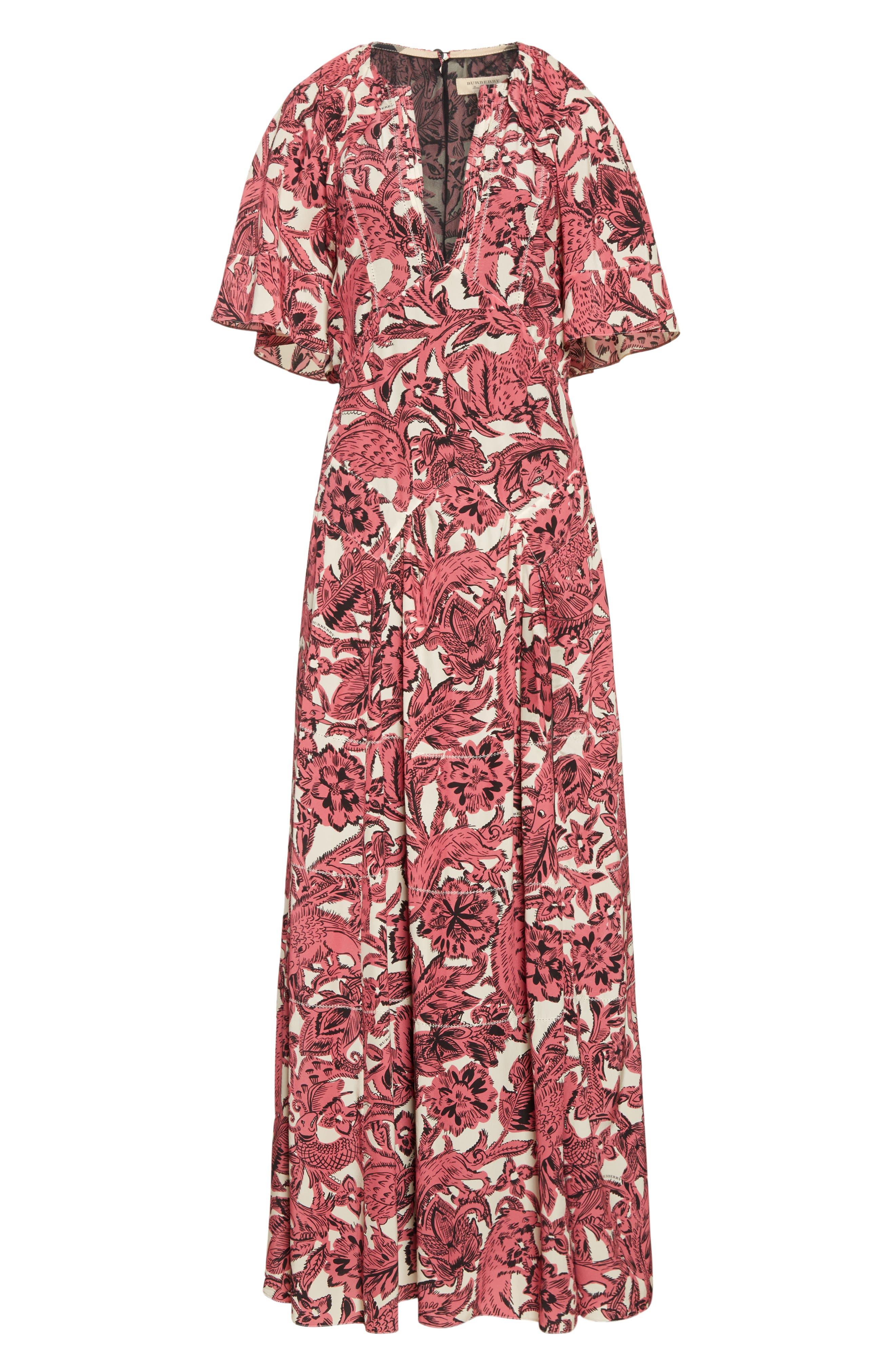 Hallie Silk Dress,                             Alternate thumbnail 7, color,                             Pink Azalea