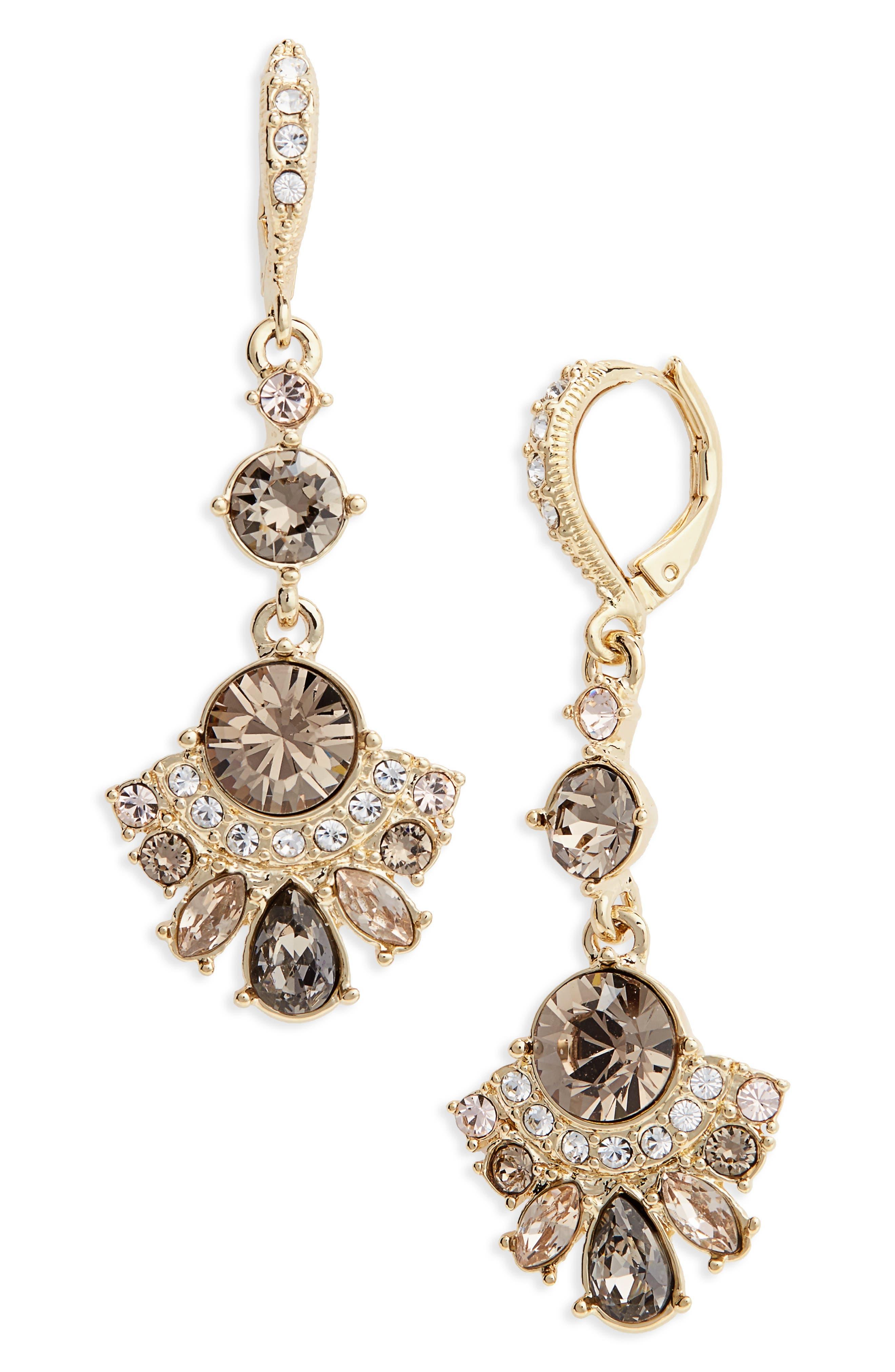 Verona Drop Earrings,                         Main,                         color, Greige / Gold