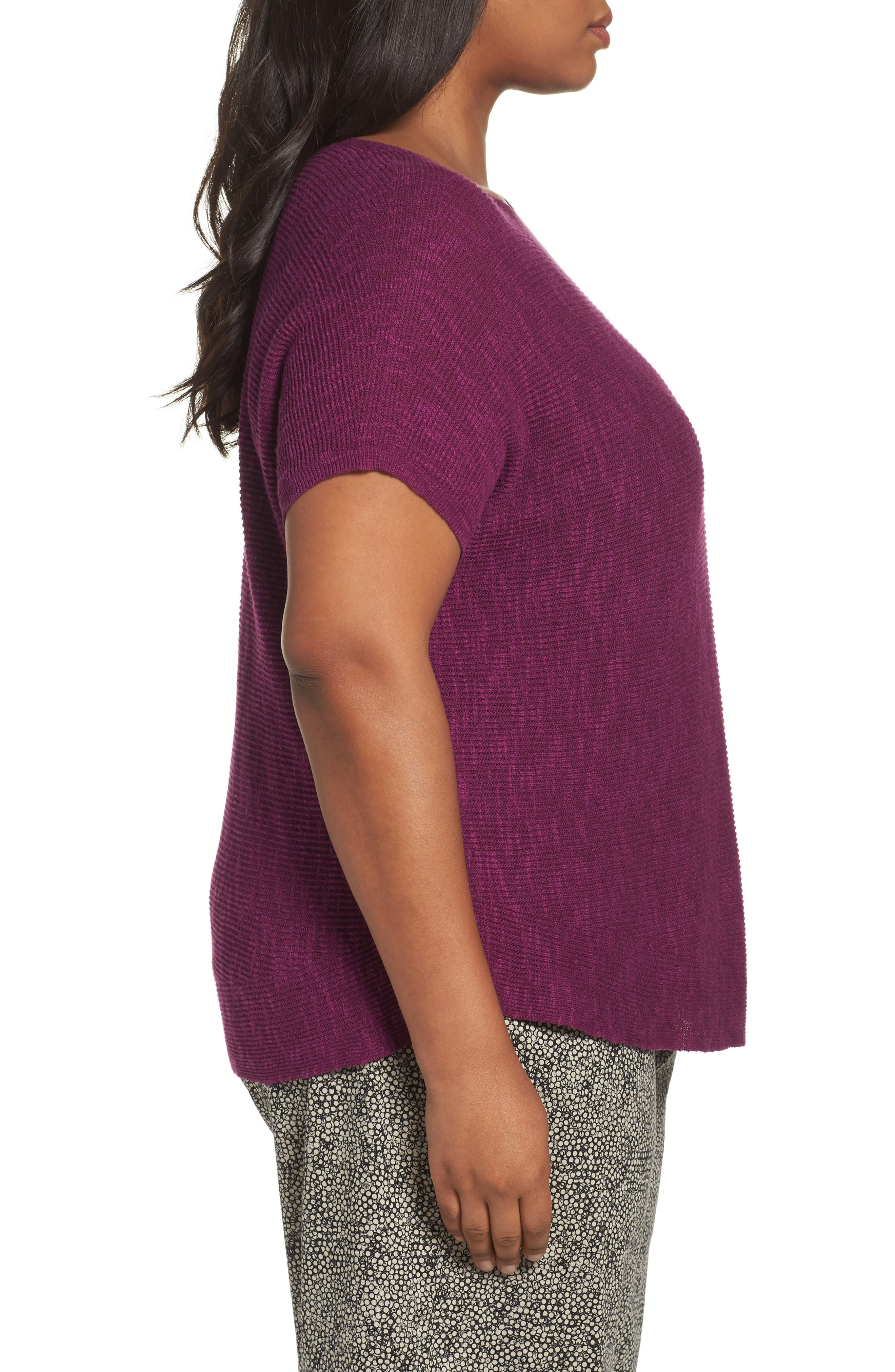 Organic Linen & Cotton Rib Sweater,                             Alternate thumbnail 3, color,                             Red