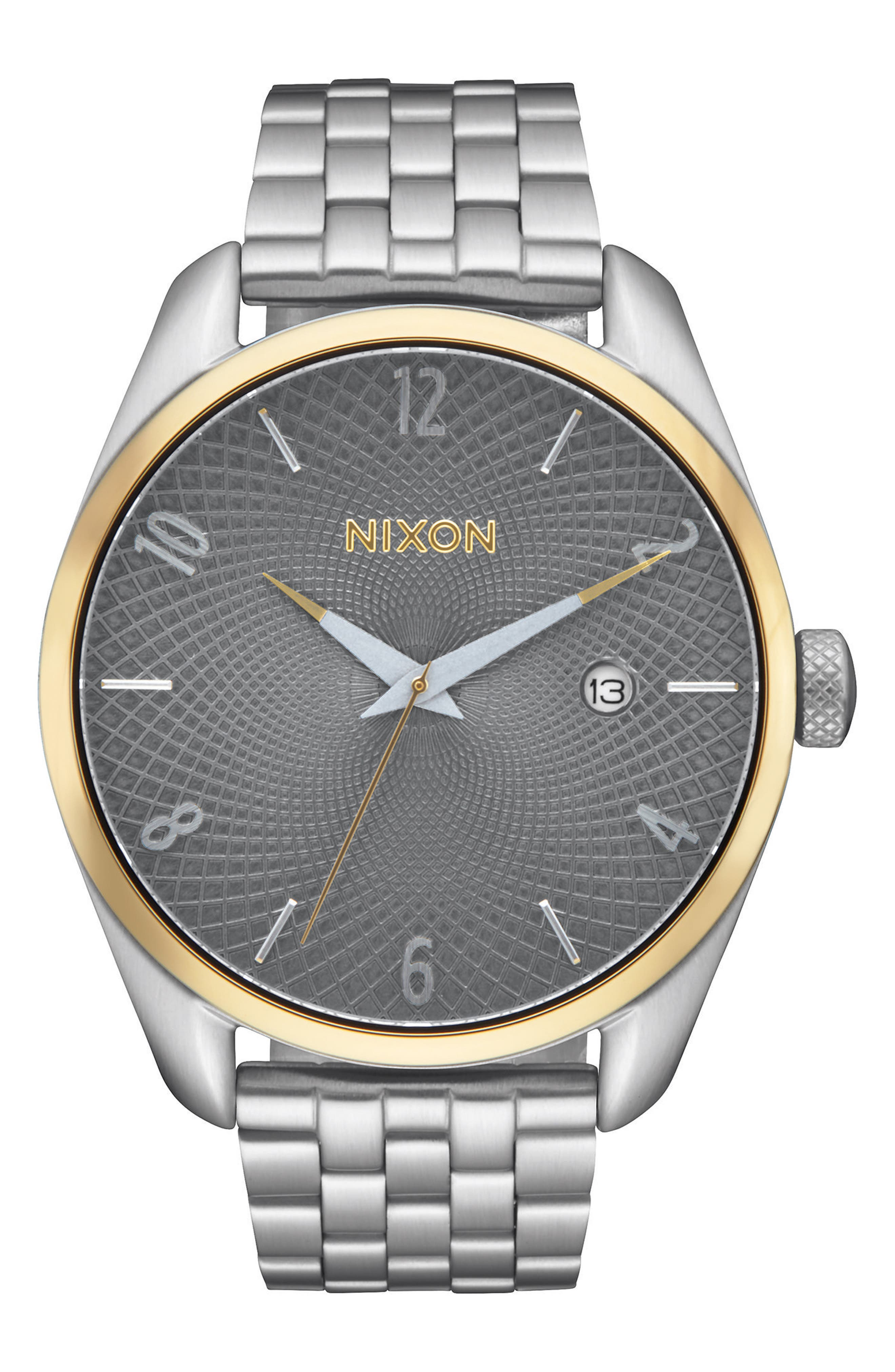'Bullet' Guilloche Dial Bracelet Watch, 38mm,                         Main,                         color, Silver/ Grey/ Gold