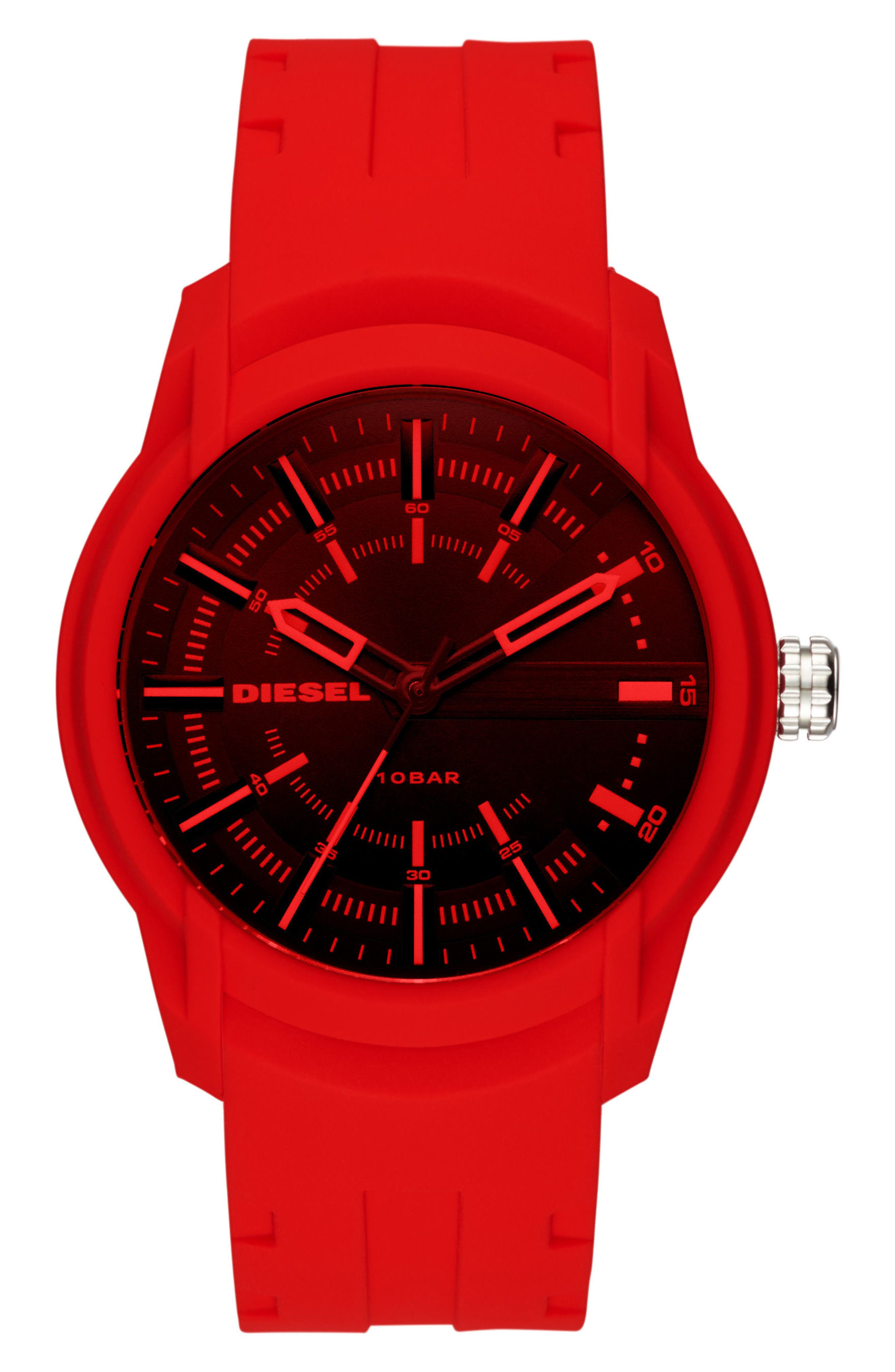 Armbar Silicone Strap Watch, 45mm,                         Main,                         color, Black/Red