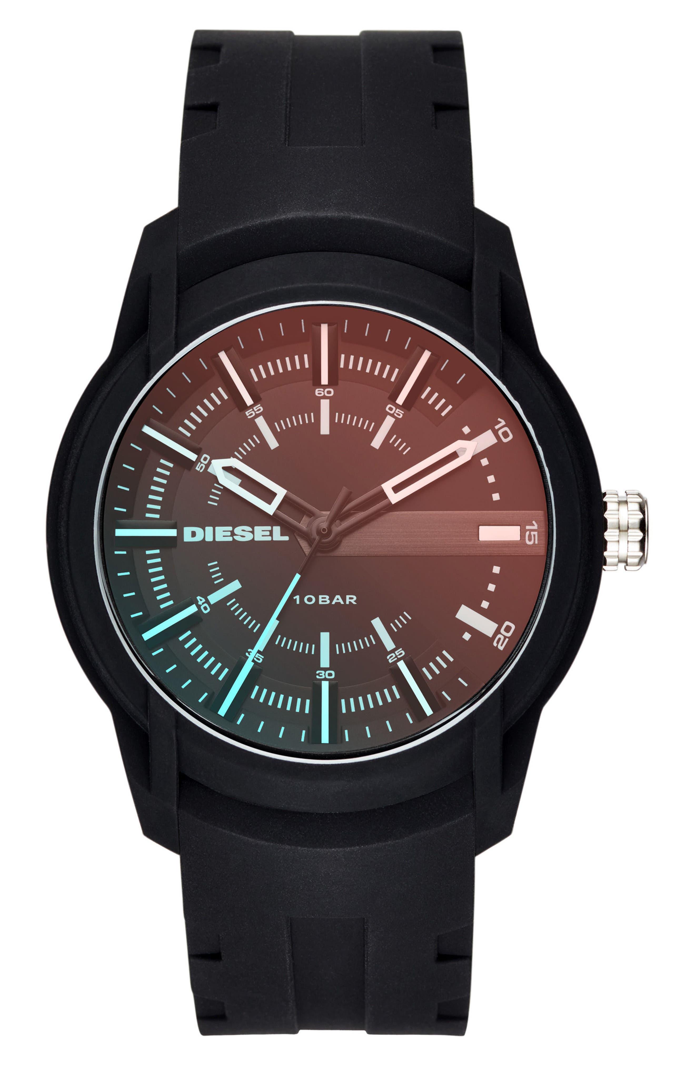 Rasp Silicone Strap Watch, 45mm,                         Main,                         color, Black/ Black
