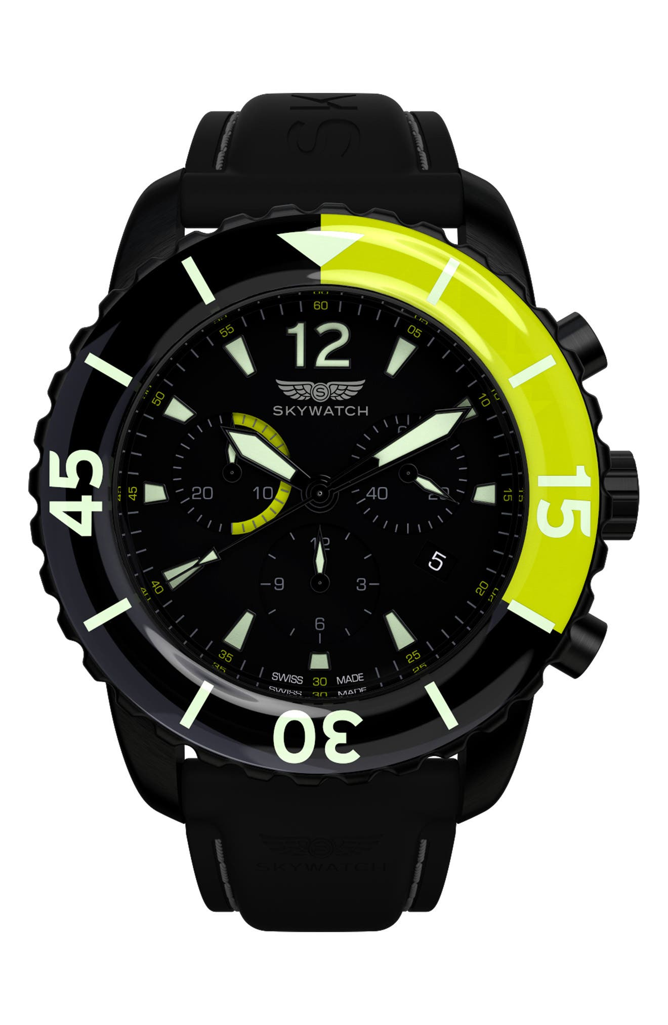 SKYWATCH Classic Chronograph Silicone Strap Watch, 44mm
