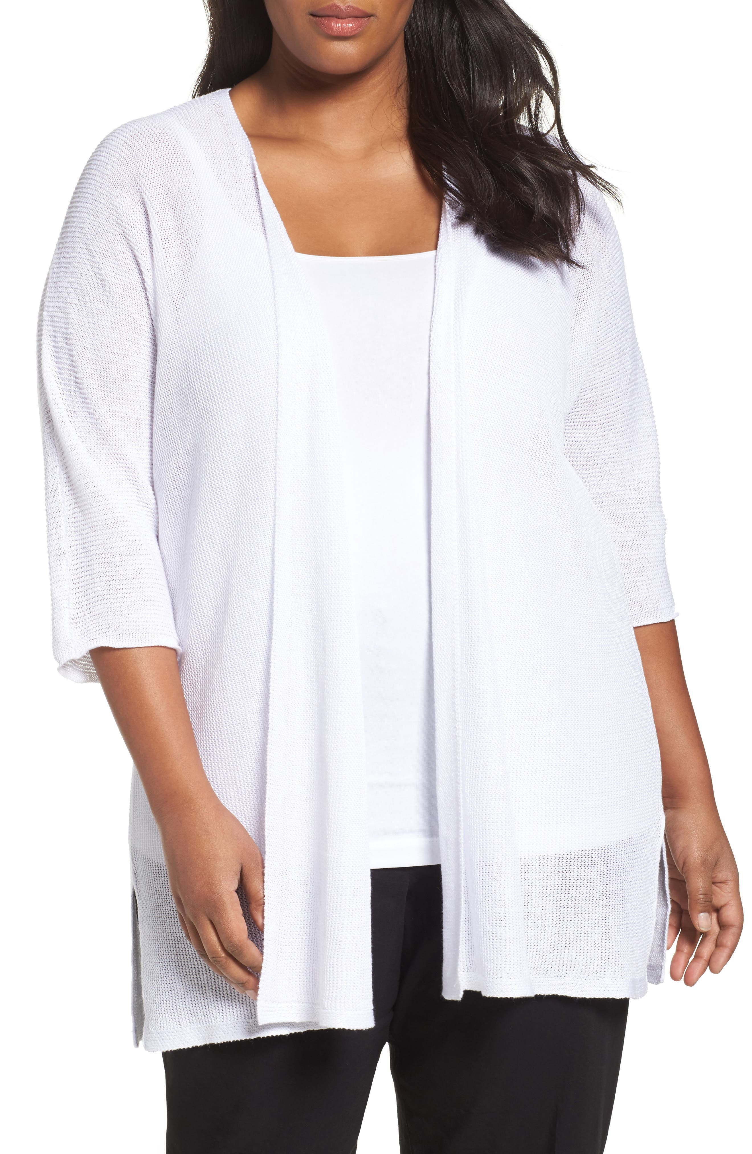 Eileen Fisher Organic Linen Links Knit Kimono (Plus Size)
