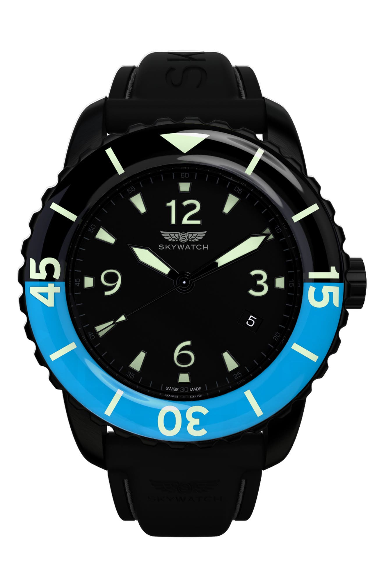SKYWATCH Classic Rubber Strap Watch, 44mm
